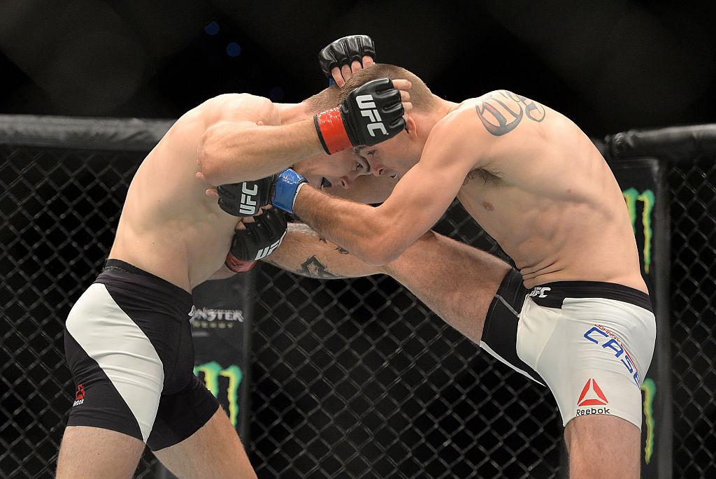 Johnny Case and Jake Matthews trade blows during their UFC Lightweight Bout at UFC Brisbane on March 20, 2016 in Brisbane, Australia.