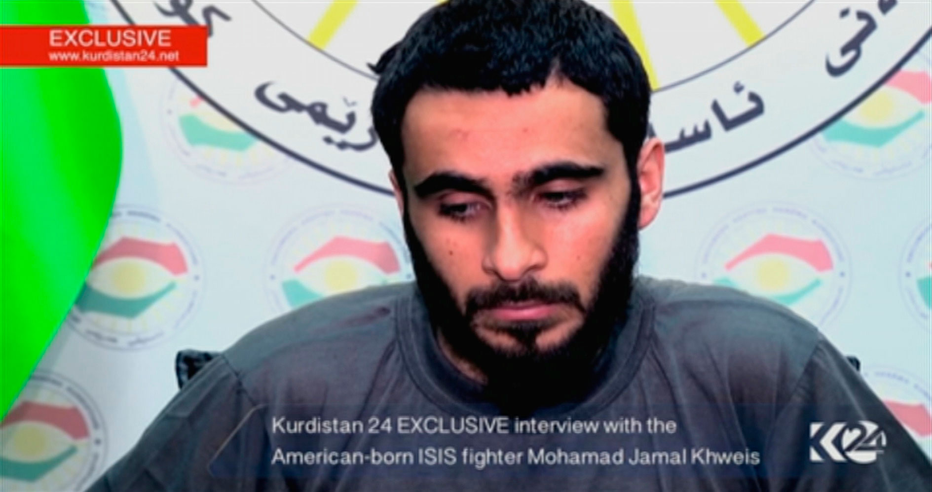 In this still image taken from video on March 16, 2016, a man whose driver's license identifies him as an American speaks during an interview after he said he joined ISIS but later left and was captured by Kurdish forces.