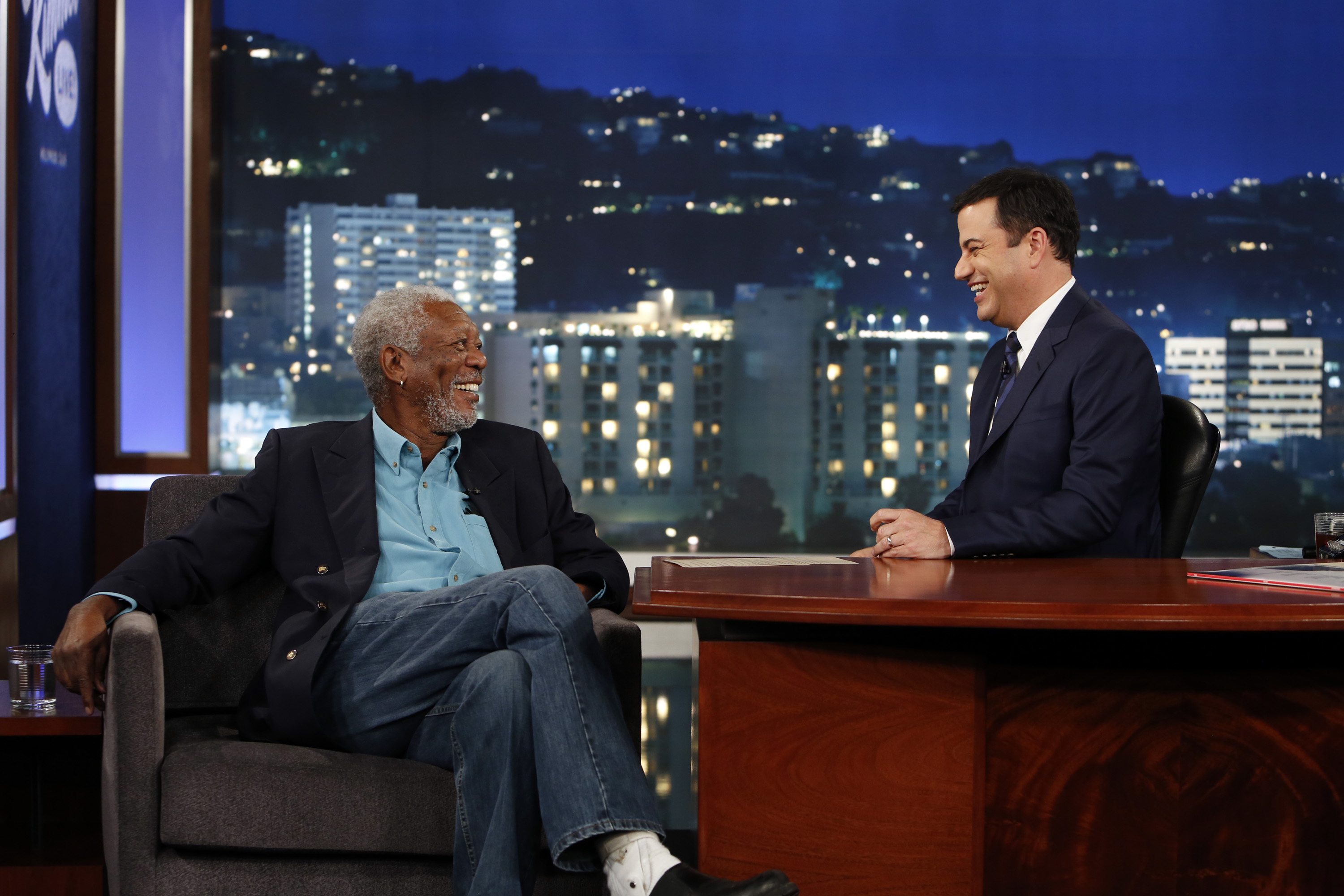 Jimmy Kimmel chats with Morgan Freeman on Sept. 11, 2014 on Jimmy Kimmel Live!