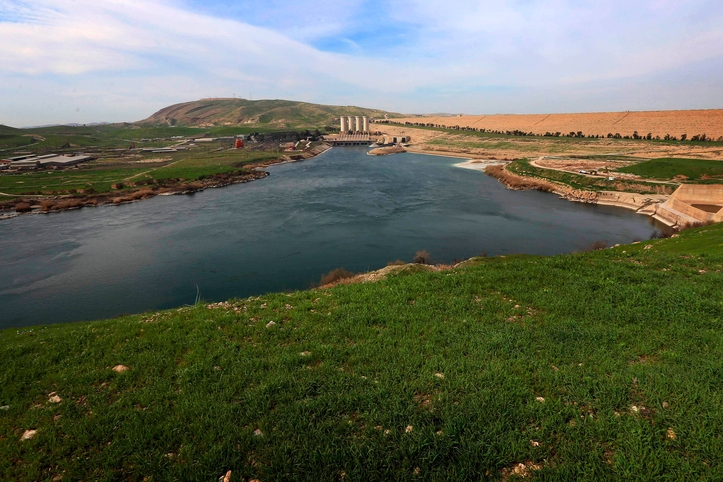 A sweeping view of the Mosul Dam on the Tigris River, about 50km north of Mosul, Iraq, March 3, 2016.