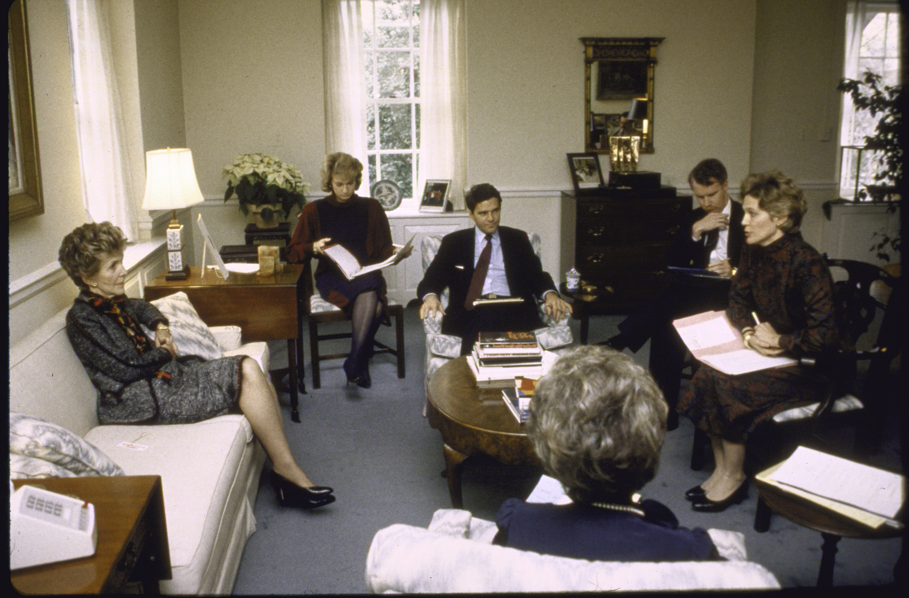 Second Term                                                              The First Lady meets with her staff in 1985. Nancy's primary iniative as First Lady was a program aimed at curbing drug abuse among young people christened the  Just Say No  drug awareness campaign.
