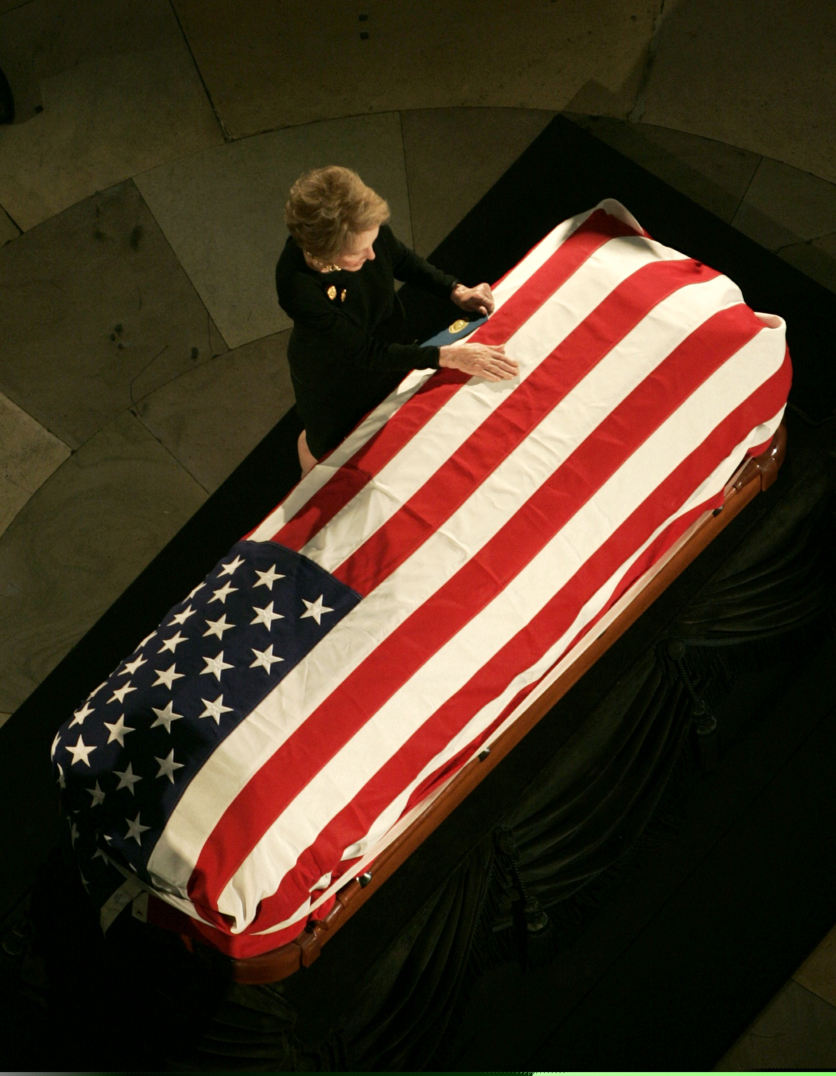 The Funeral                                                              Upon Ronald Reagan's death in 2004, Nancy led the nation in mourning, as she orchestrated a seven-day state funeral that saw her: attend a memorial service at the Reagan Library; witness her husband's body laying in state in the Capitol; attend a service at the National Cathedral where she had invited George H. W. Bush, Margaret Thatcher and Brian Mulroney to speak; stood gravesite at Reagan's final resting place on their ranch, where she finally allowed to herself to cry in public.