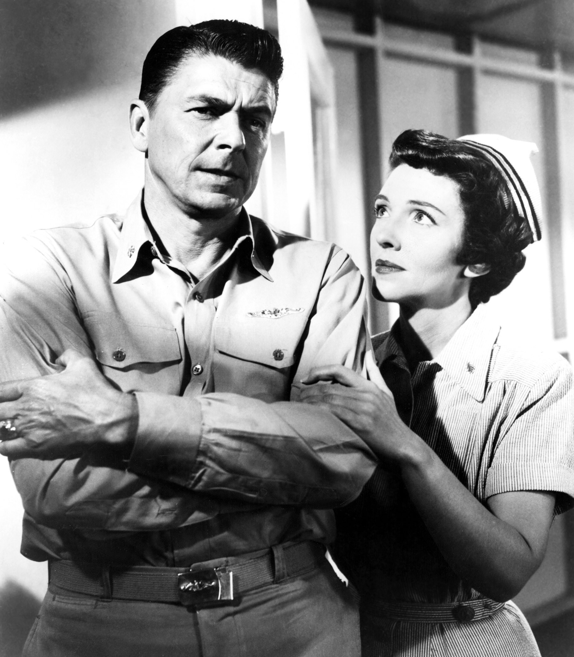 Co-Stars                                                              As a film actress, Nancy appeared in 11 films and generally received favorable reviews from critics, though not so much for her most widely mentioned performance, as a nurse engaged to Reagan's character in Hellcats of the Navy, above, the only film in which she and her future husband played together. By the time she was cast in the role, Ron and Nancy had already been married five years. After one more film role and a smattering of televison appearances, Nancy would leave acting for good. She later commented that she became an actress because she  didn't want to go back to Chicago and lead the life of a post-debutante. I wanted to do something until I found the man I wanted to marry.