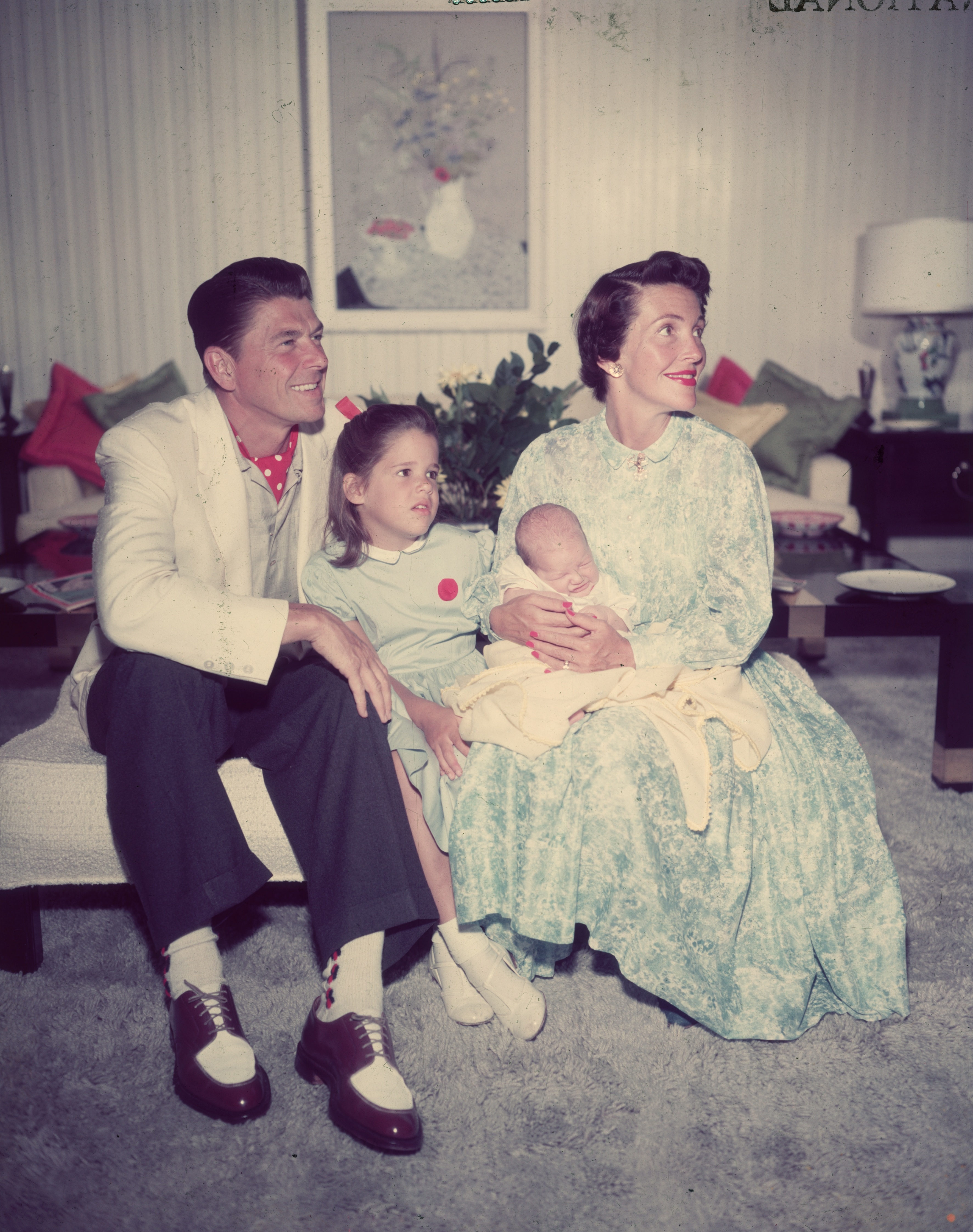 Family                                                              The Reagans had two children, Patricia Ann, next to Ron in this picture, and Ron Jr. Nancy's relationship with her daughter, who, as an actress, would take the professional name Patti Davis, became rocky later in their lives, as the younger Reagan refused to accept all of her parents' conservative views. Ronald Reagan also had one biological child, Maureen and one adopted child, Michael, from his previous marriage to Jane Wyman.