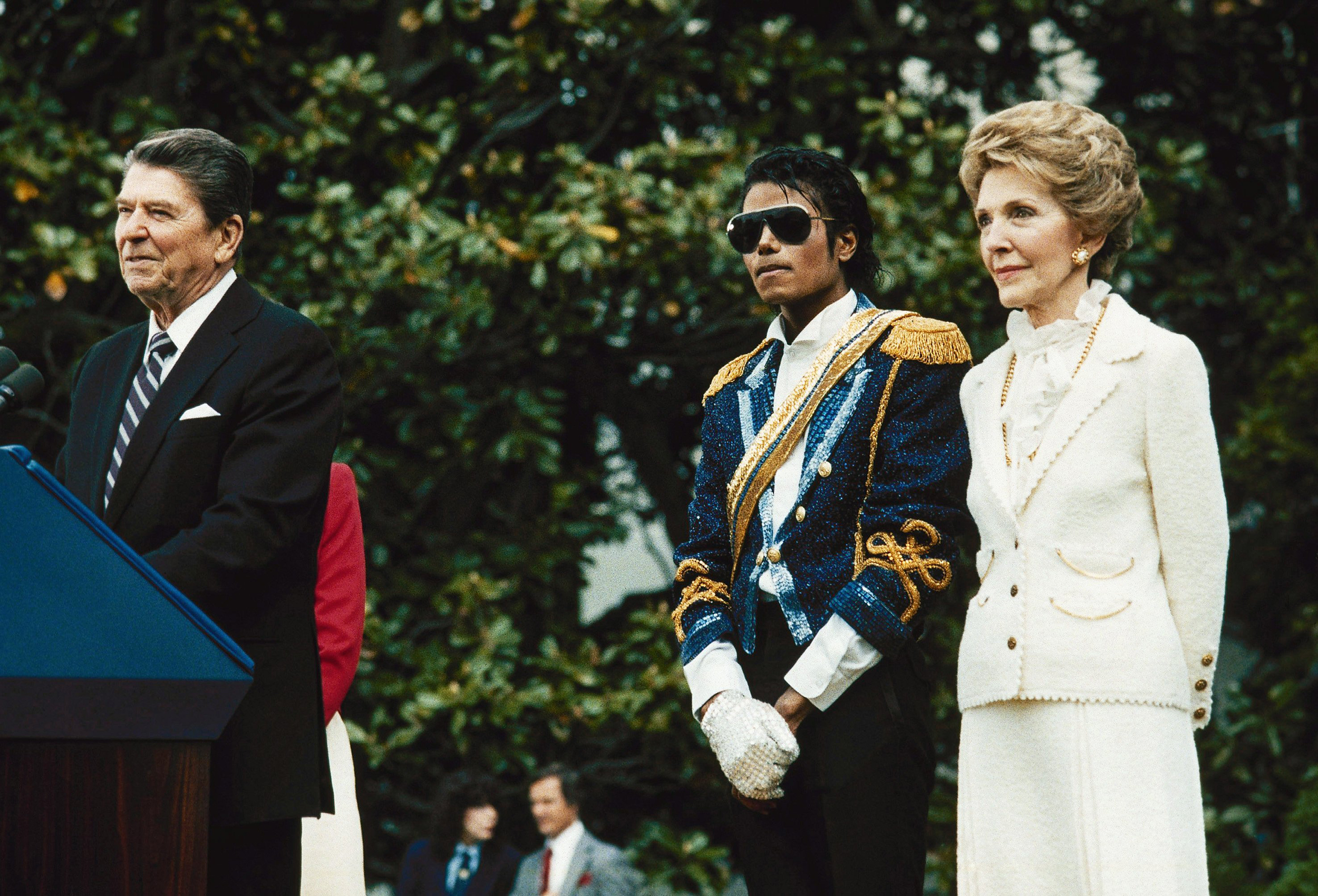 Michael Jackson stands with former President Ronald Reagan and first lady Nancy Reagan on the south lawn of the White House prior to receiving an award from the president for his contribution to the drunk driving awareness program in Washington, D.C. on May 14, 1984.