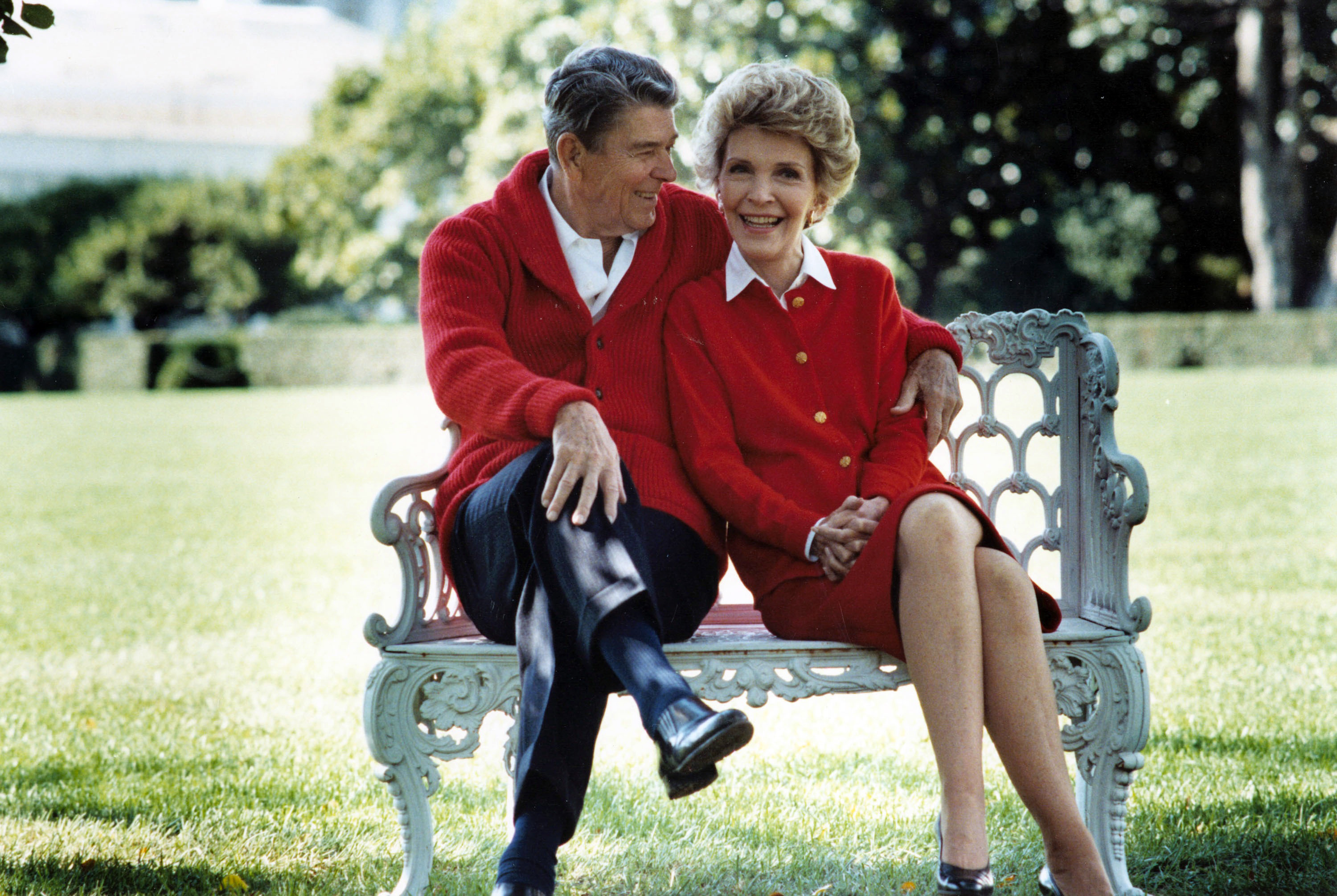 The Reagans pose on the White House South Lawn on Oct. 5, 1988 in Washington.