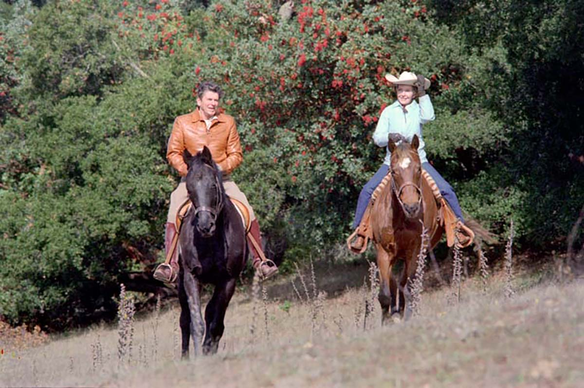 President Ronald Reagan and First Lady Nancy Reagan go horseback riding at Rancho Del Cielo on Nov. 24, 1981.