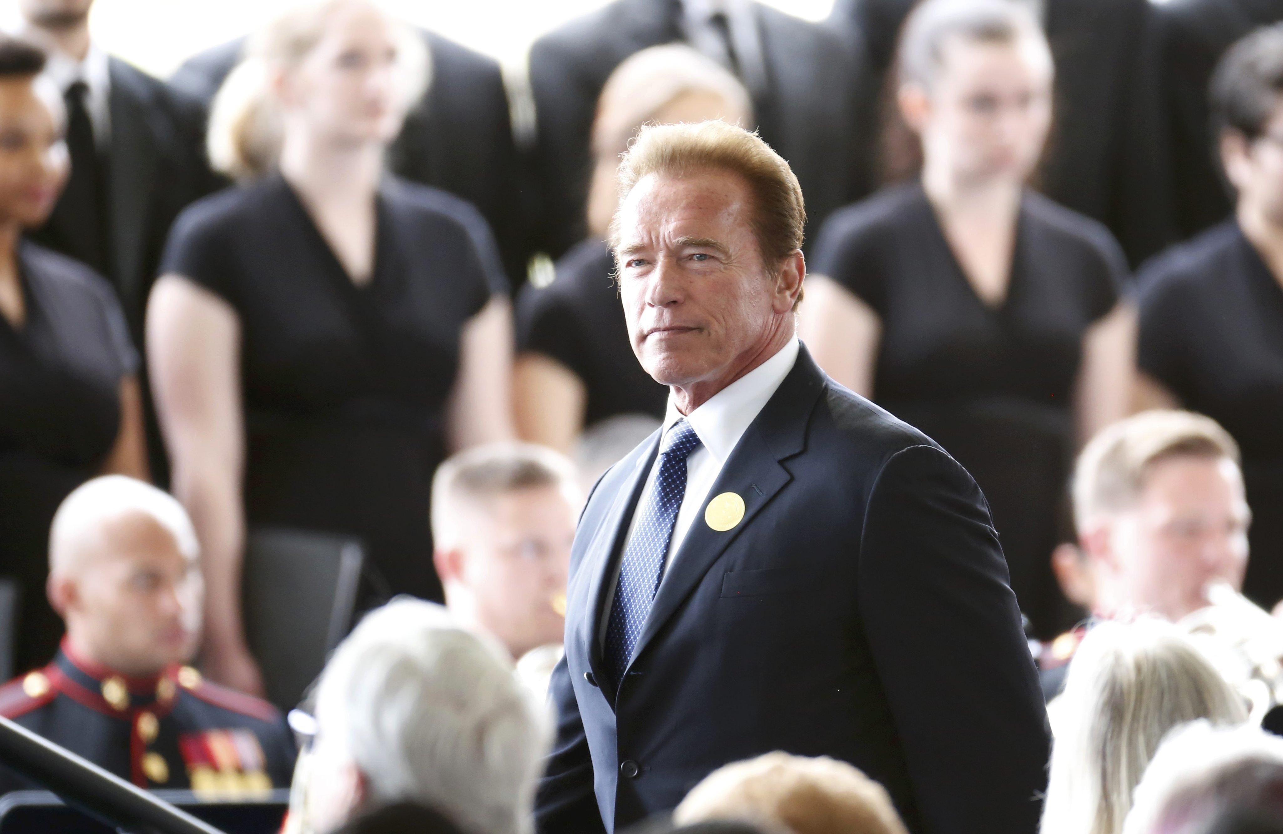 Former California Governor Arnold Schwarzenegger arrives for the funeral  at the Ronald Reagan Presidential Library in Simi Valley, Calif., March 11, 2016.
