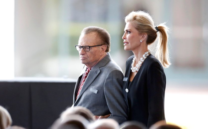 Television personality Larry King and his wife Shawn arrive for the funeral of Nancy Reagan at the Ronald Reagan Presidential Library in Simi Valley, California