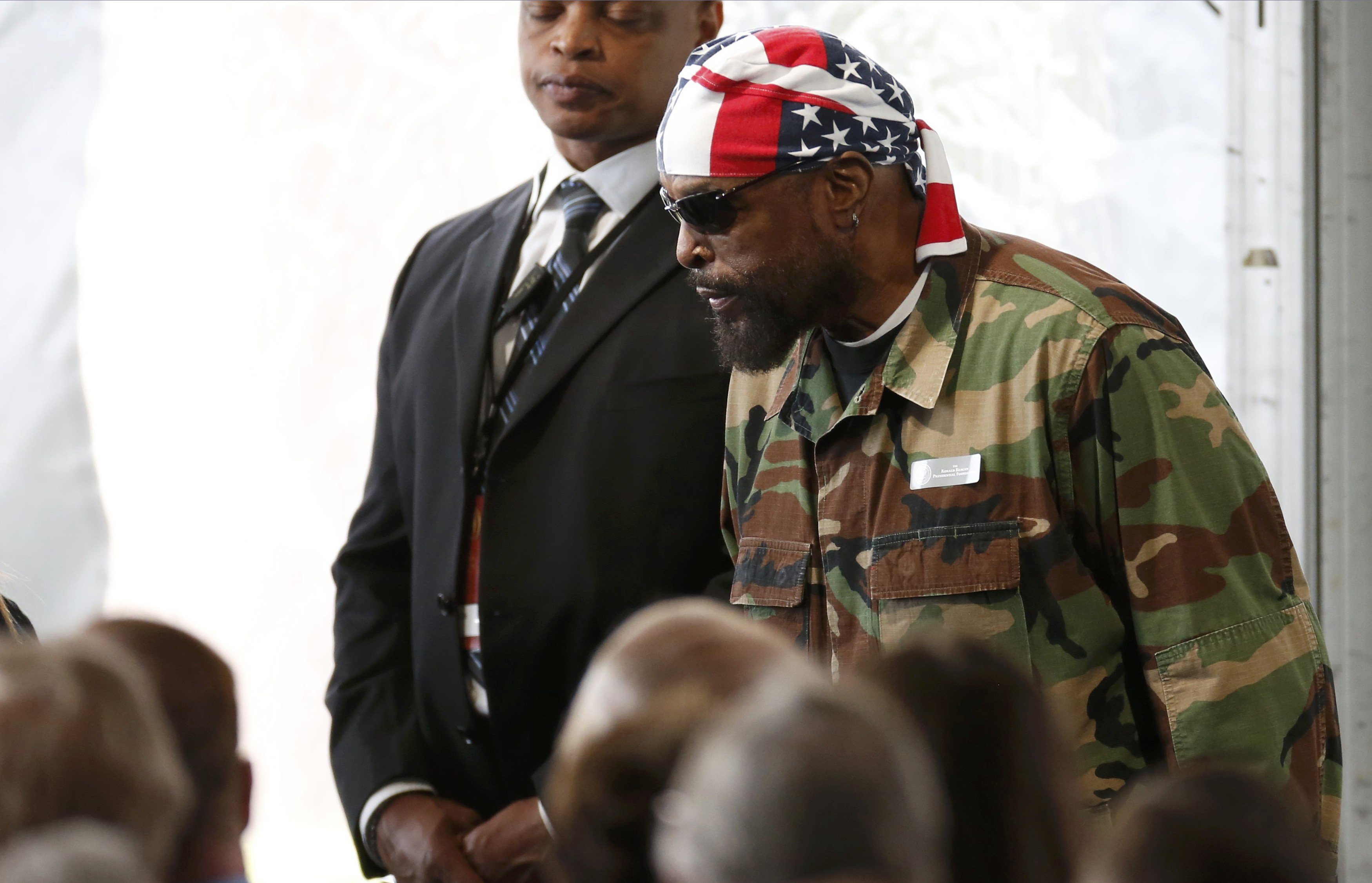Actor Mr. T arrives for the funeral, March 11, 2016.
