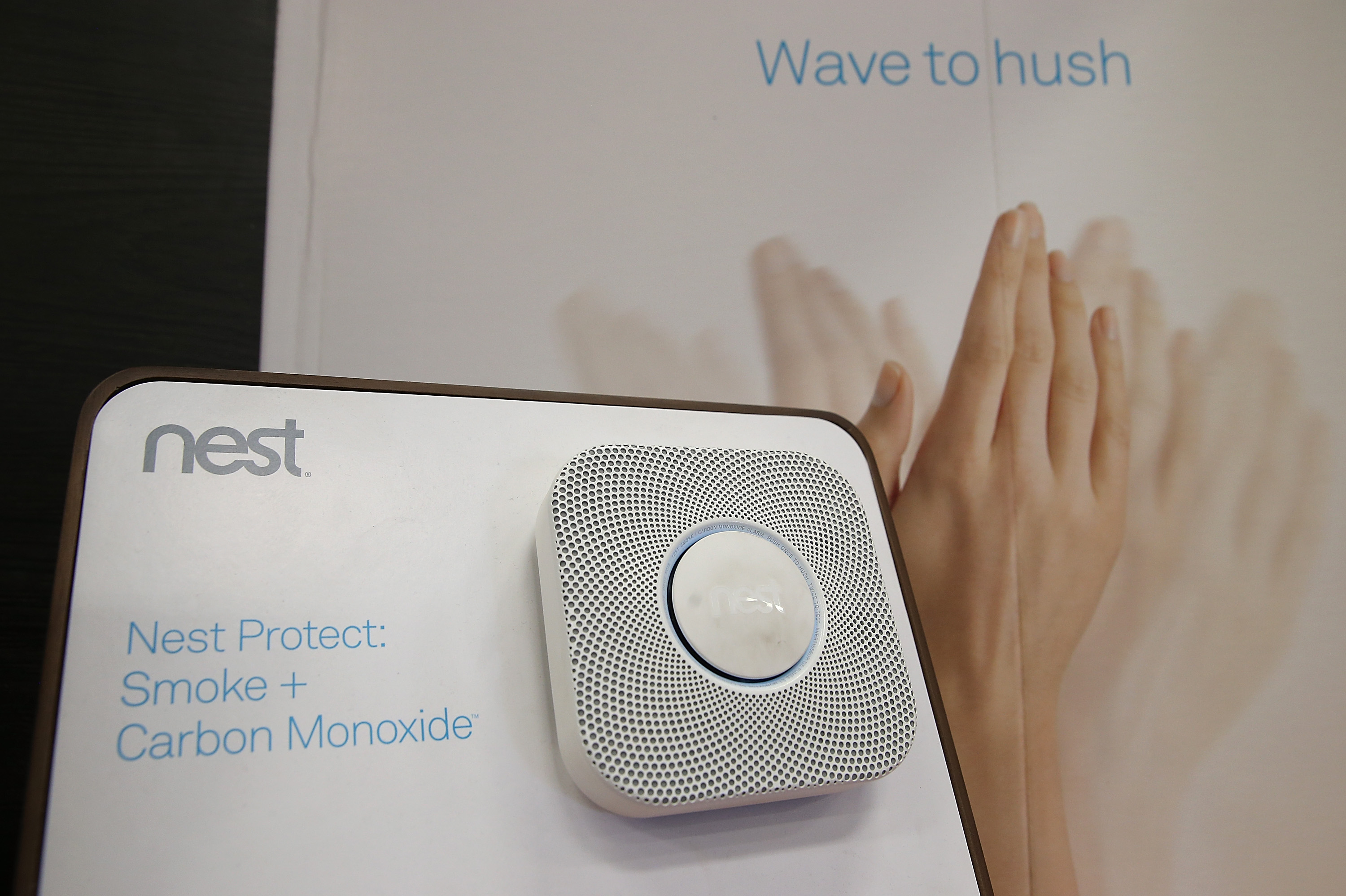 The Nest Protect smoke and carbon monoxide detector is displayed at a Home Depot store on January 13, 2014 in San Rafael, California.