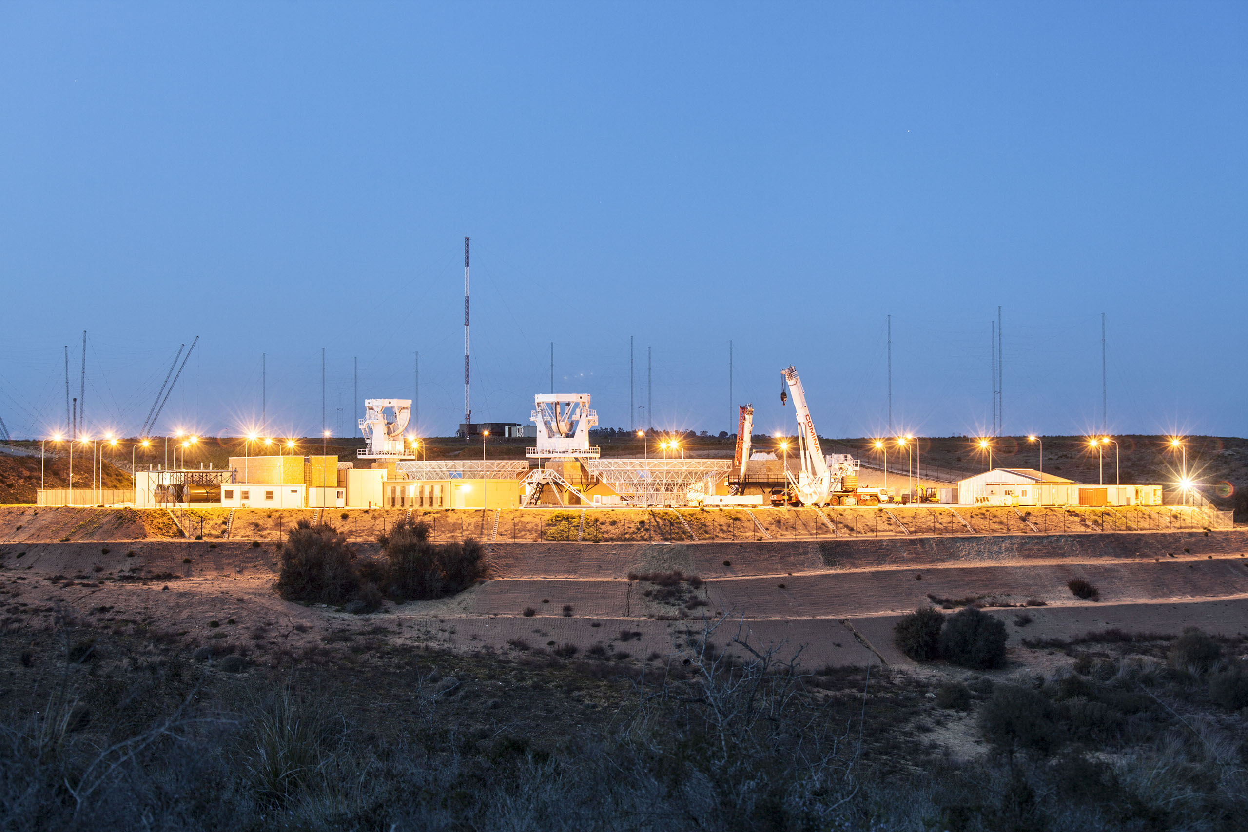 An evening view of an Mobile User Objective System (MUOS) ground station in Niscemi, Italy, March 4, 2013.