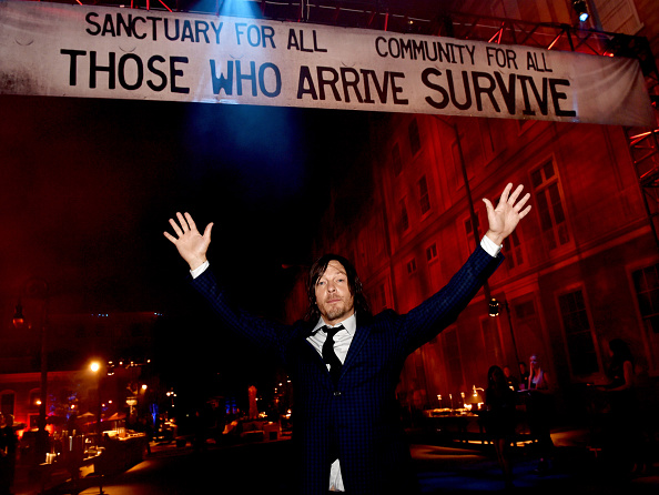 Actor Norman Reedus poses at the after party for the premiere screening of AMC Networks' 'The Walking Dead' Season 5 at the Universal Studios Backlot on October 2, 2014 in Universal City, California.