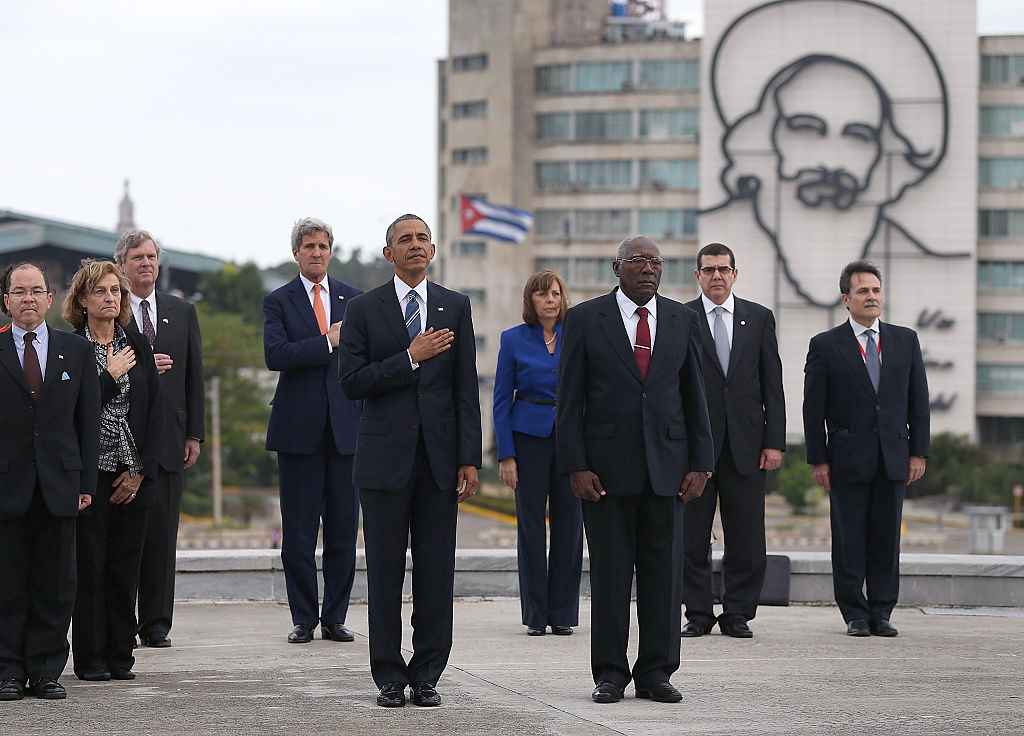President Barack Obama stands with Salvador Sanchez Mesa,  Vice President of the Council of Ministry, as they take part in a wreath laying ceremony at the Jose Marti memorial in Revolution Square on March 21, 2016 in Havana, Cuba.