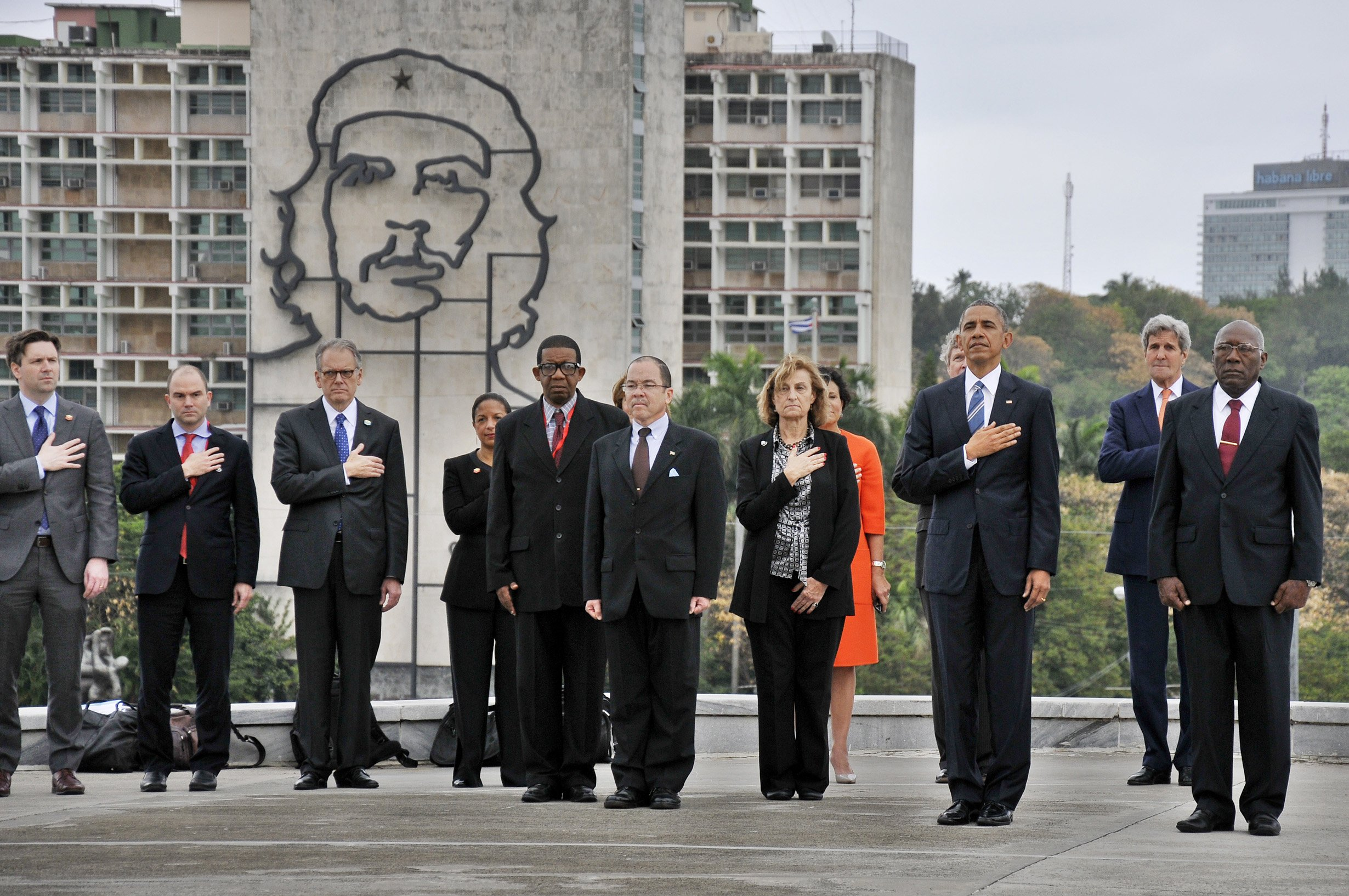 President Obama and Salvador Valdes Mesa (R) pay tribute to Jose Marti at the Revolution Square in Havana, on March 21, 2016.