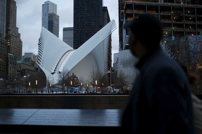 "The Oculus structure of the World Trade Center Transportation Hub is pictured as people visit the World Trade Center site, formerly known as ""Ground Zero"", in New York"
