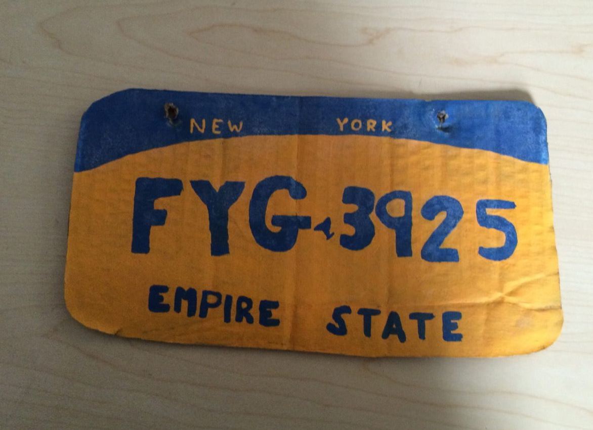 This photo provided by the Erie County Sheriff's Office shows a homemade New York state license plate.