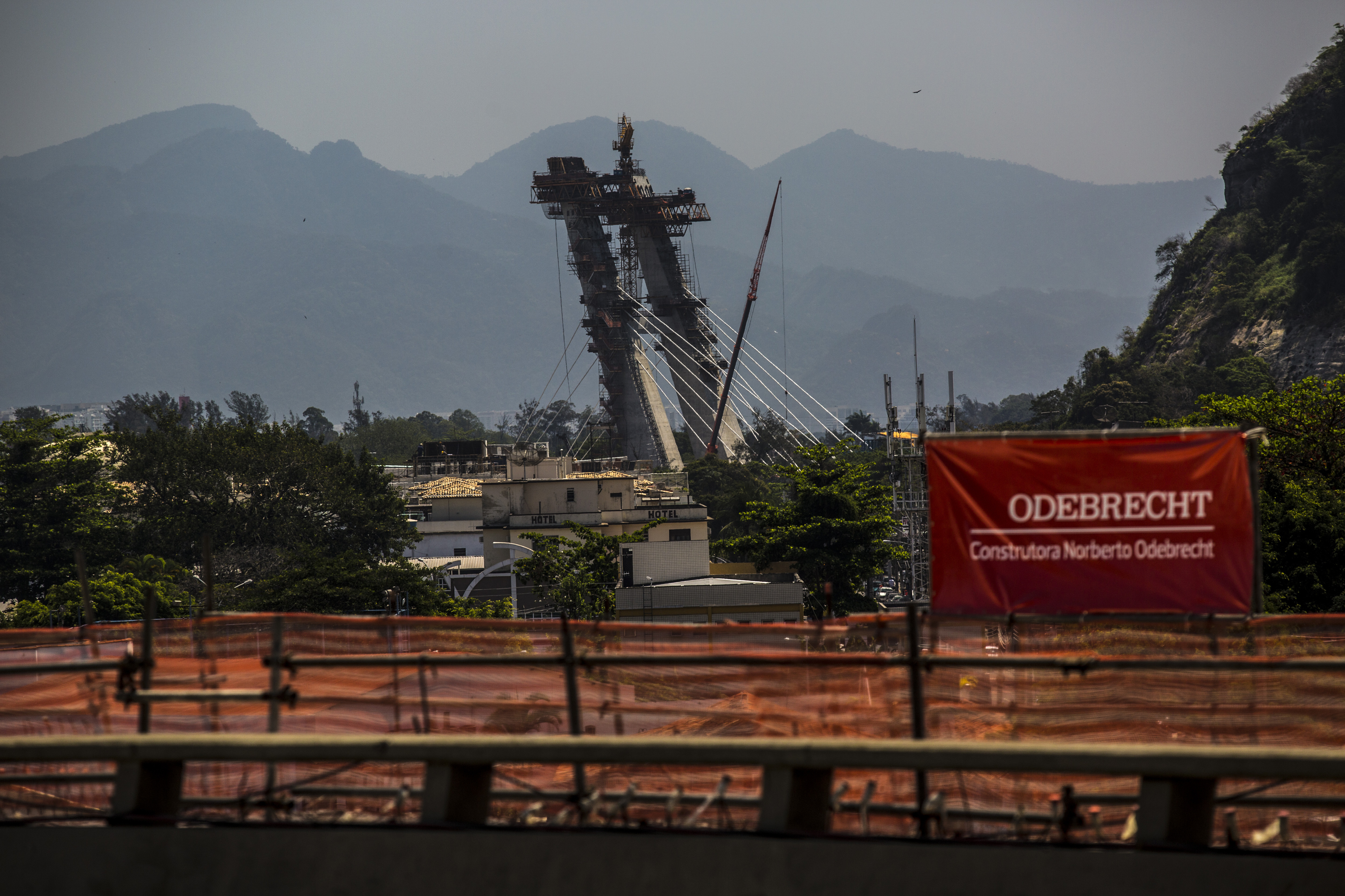 Odebrecht signage is displayed on a construction site in Rio de Janeiro, on Sept. 24, 2015.