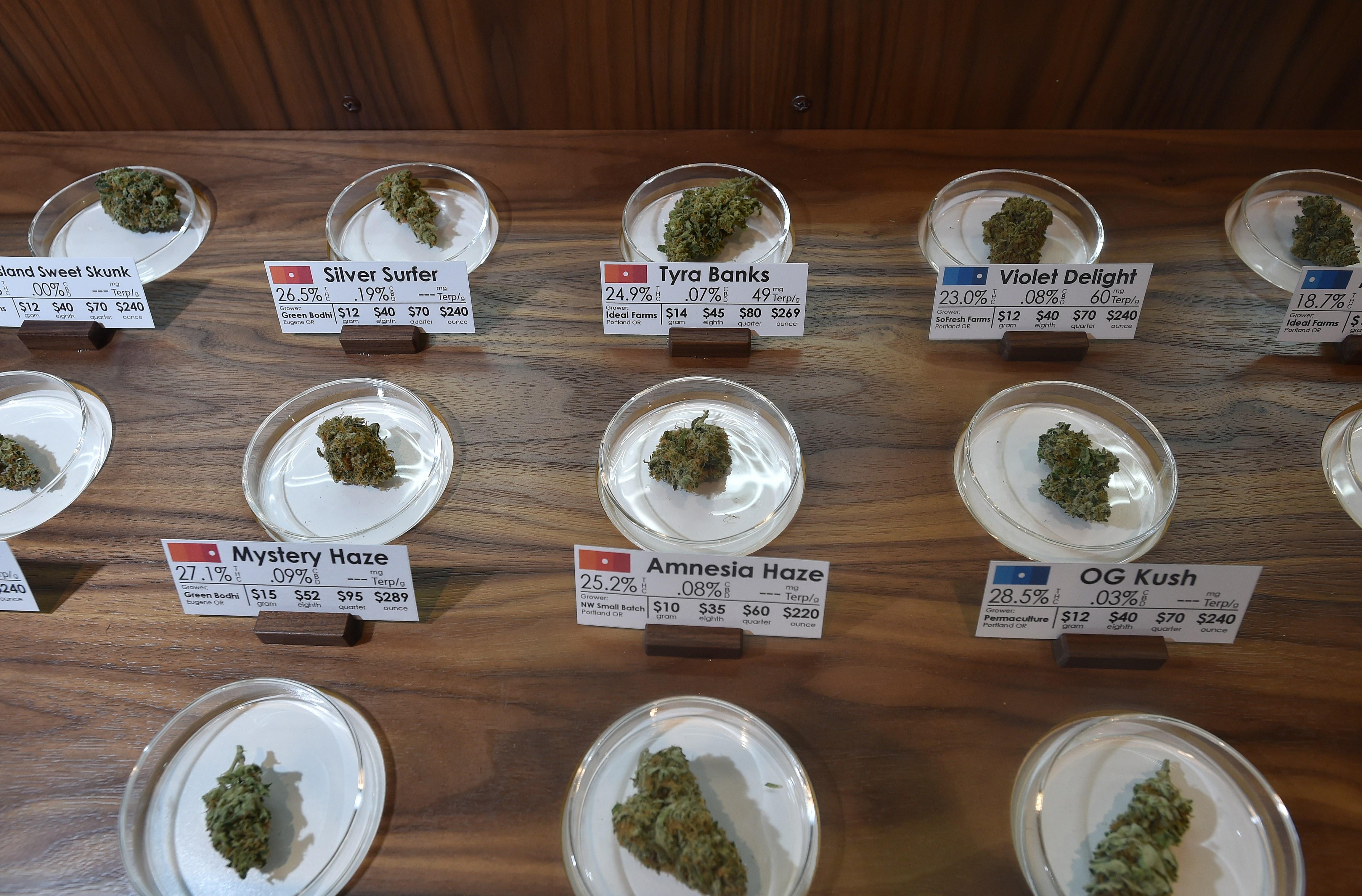 Samples on display at Farma, a marijuana dispensary in Portland, Oregon, on October 4, 2015.