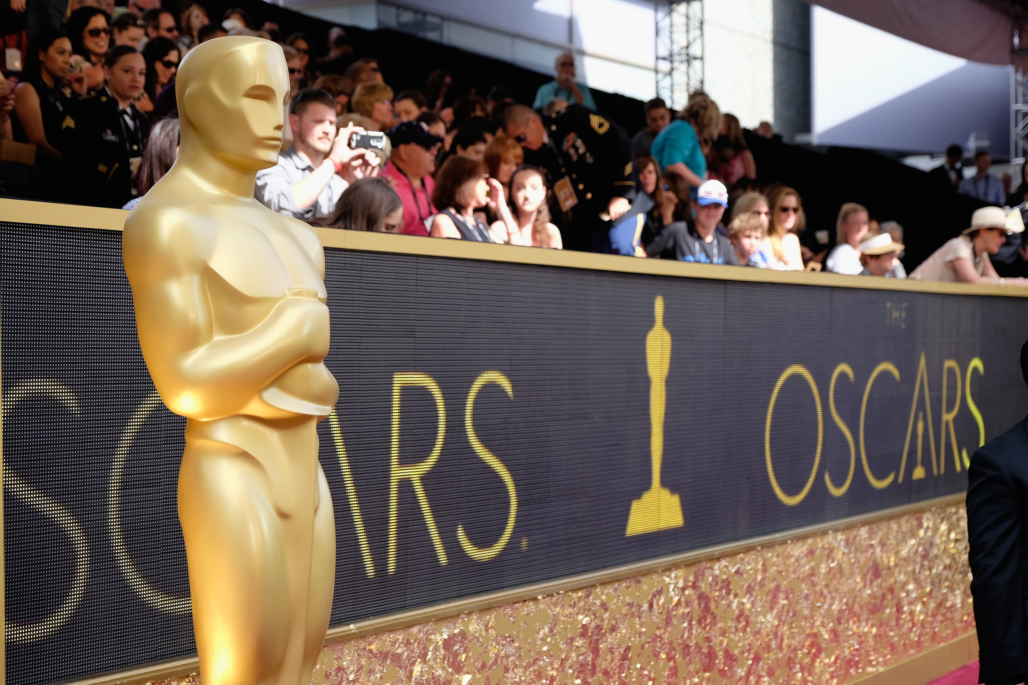 The Oscar statuette is displayed on the red carpet during the 88th Annual Academy Awards at Hollywood & Highland Center on February 28, 2016 in Hollywood, California.