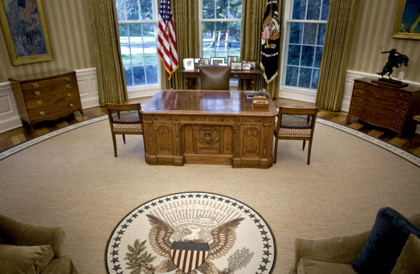 The desk of U.S. President Barack Obama sits in the newly redecorated Oval Office of the White House in Washington, D.C., in August 31, 2010.