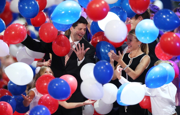Republican vice presidential candidate, U.S. Rep. Paul Ryan (R-WI) and wife, Janna Ryan stand in the balloon drop during the final day of the Republican National Convention at the Tampa Bay Times Forum on August 30, 2012 in Tampa, Florida.