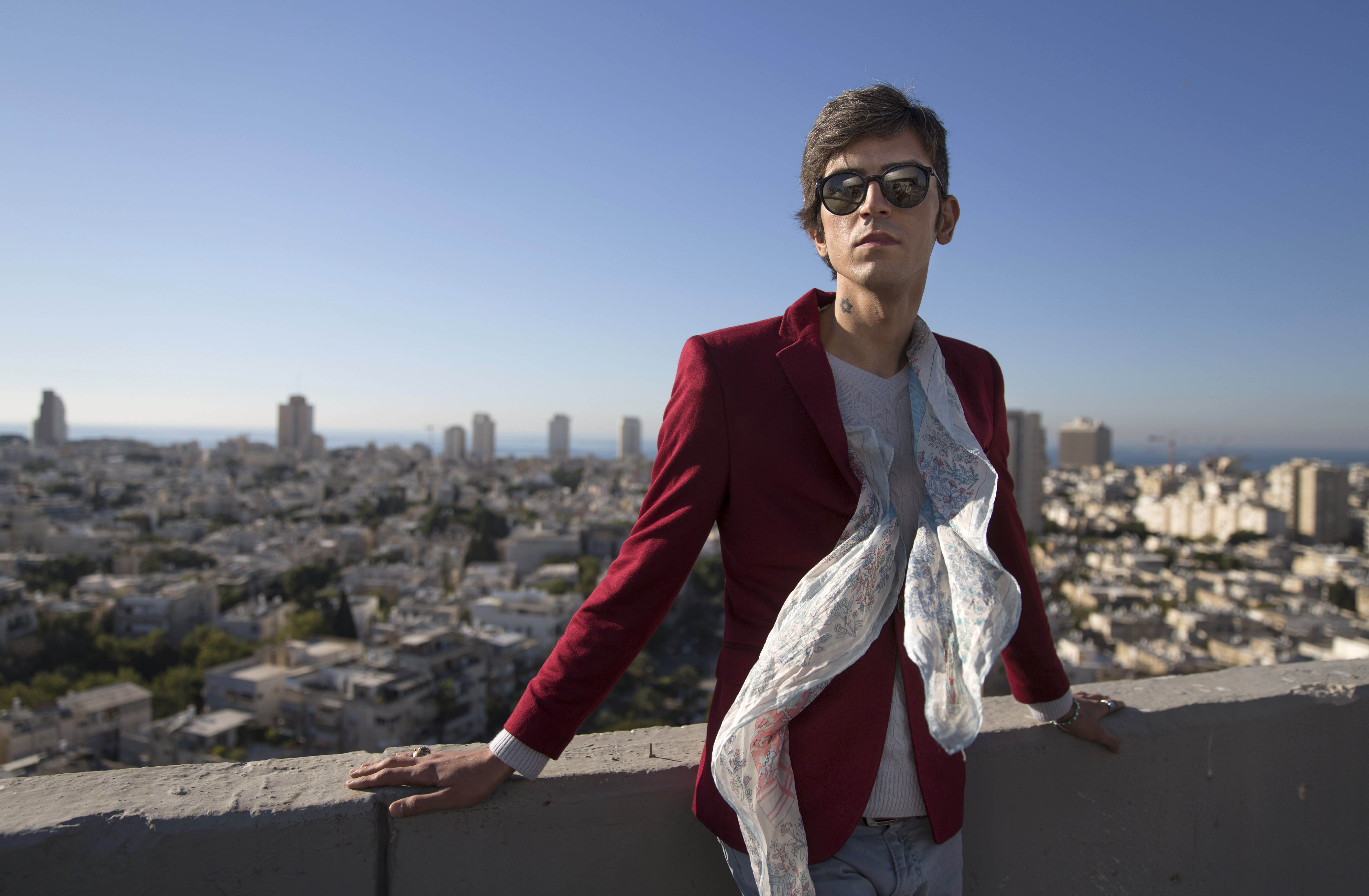 Iranian poet, Payam Feili poses for a photograph in Tel Aviv, Israel on Dec. 9, 2015.