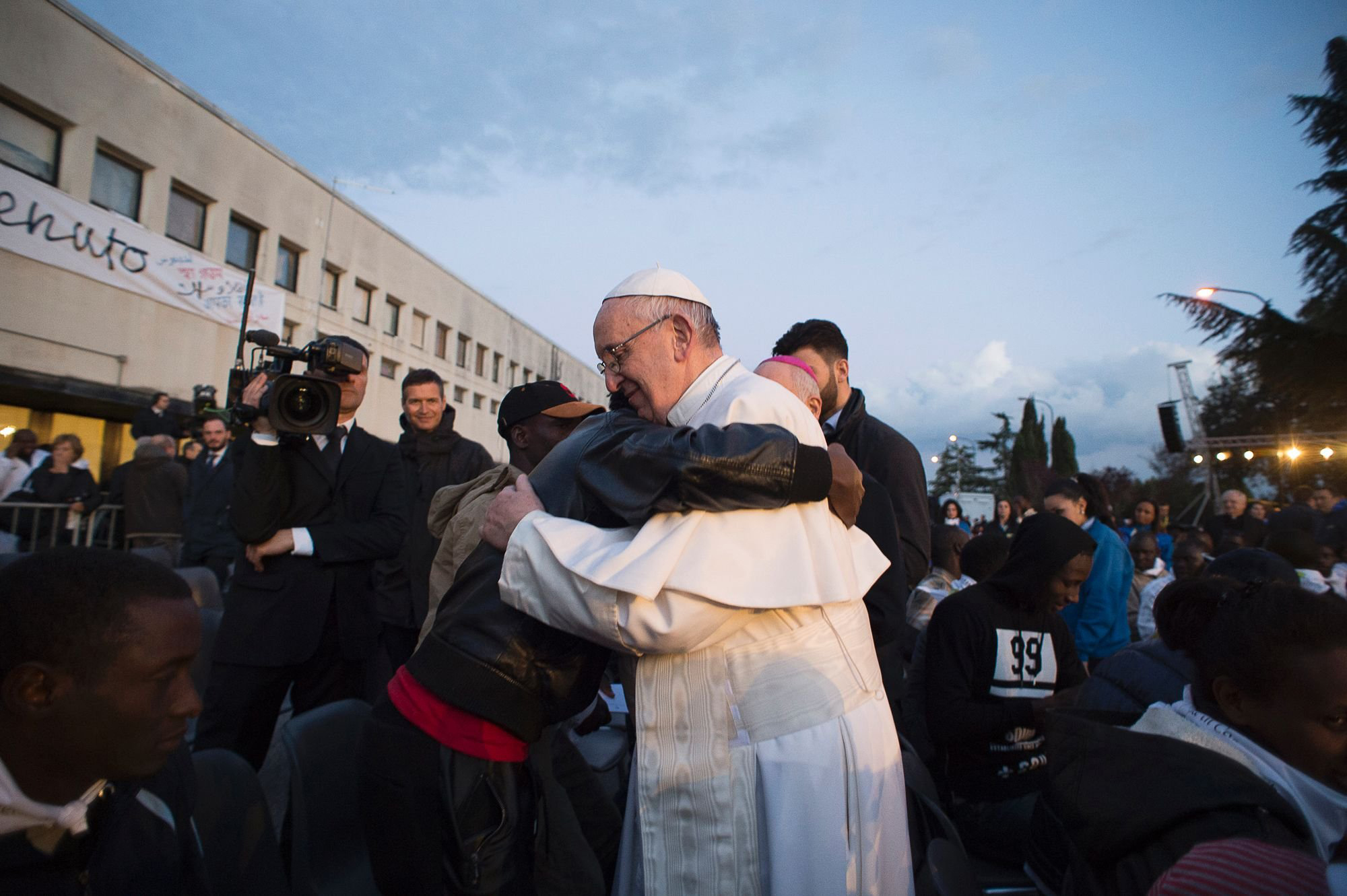Pope Francis at the Castelnuovo di Porto refugees center near Rome, Italy on March 24, 2016.