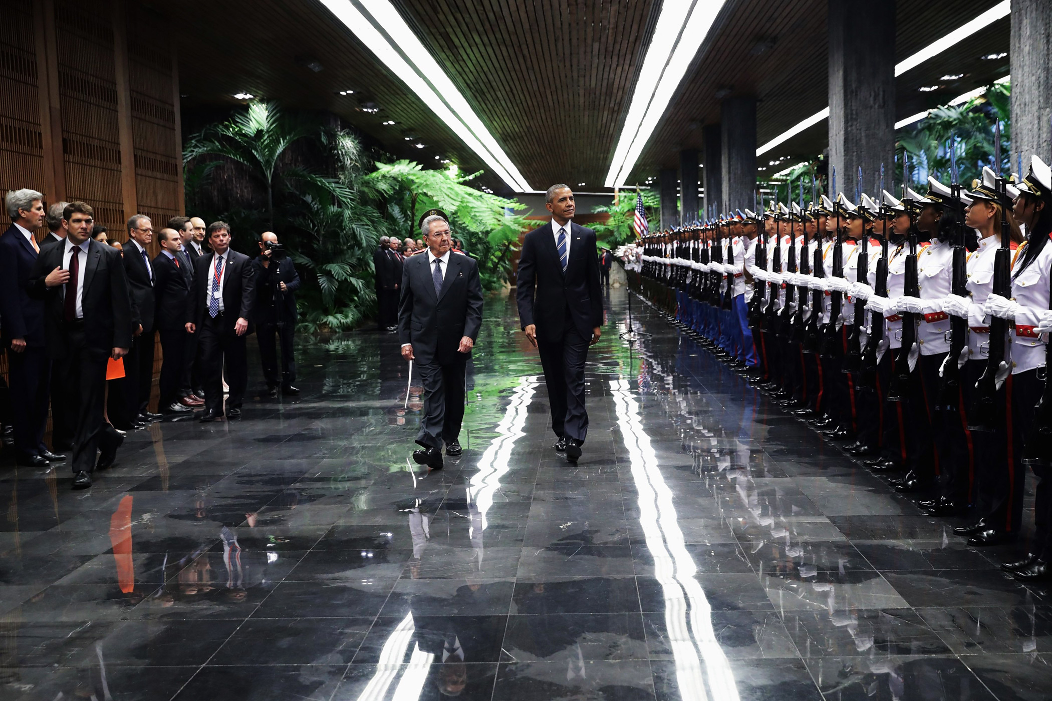 President Barack Obama  and President Raul Castro review troops before bilateral meetings at the Palace of the Revolution on March 21, 2016 in Havana.