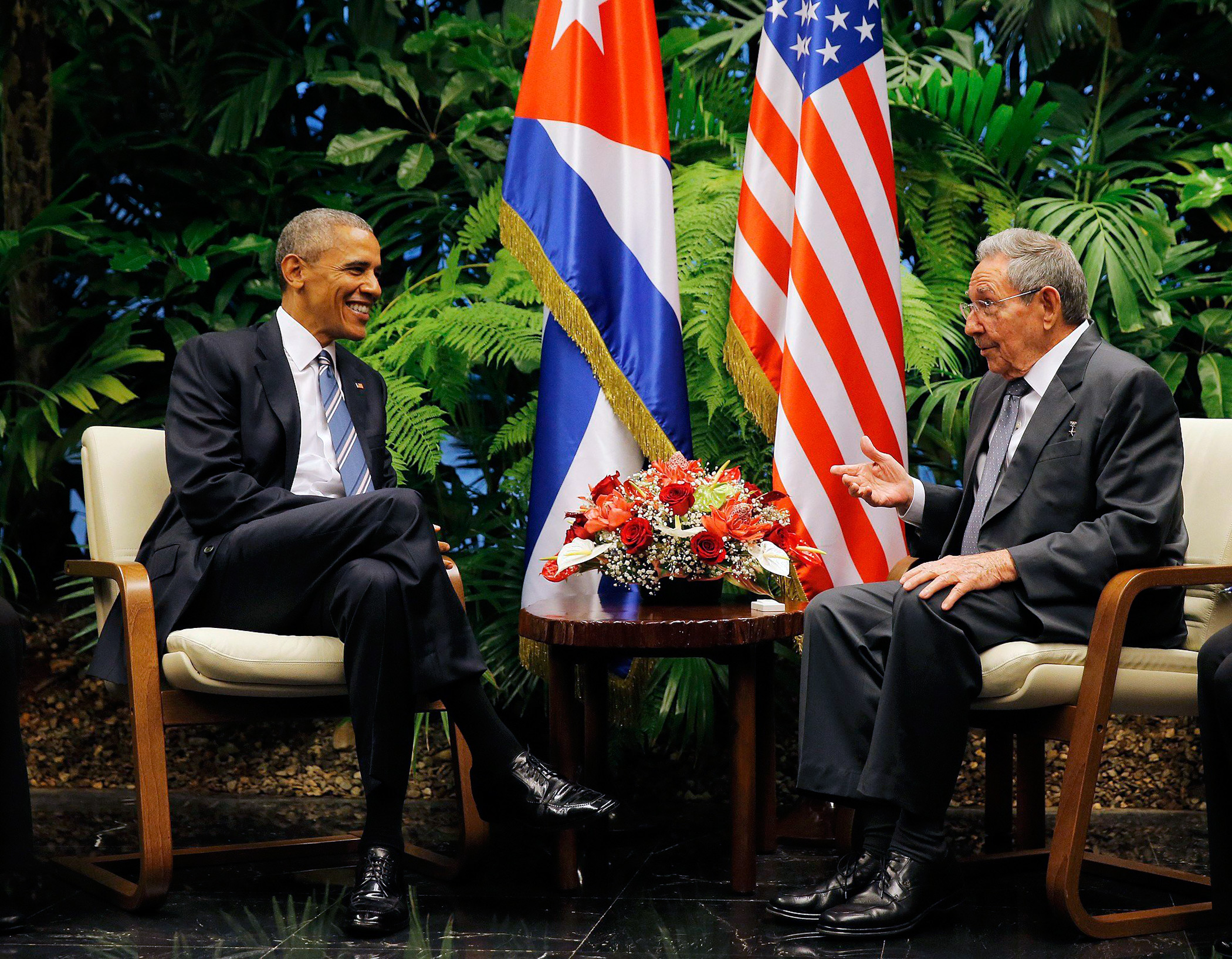U.S. President Barack Obama and Cuba's President Raul Castro hold their first meeting of Obama's visit to Cuba on  March 21, 2016.