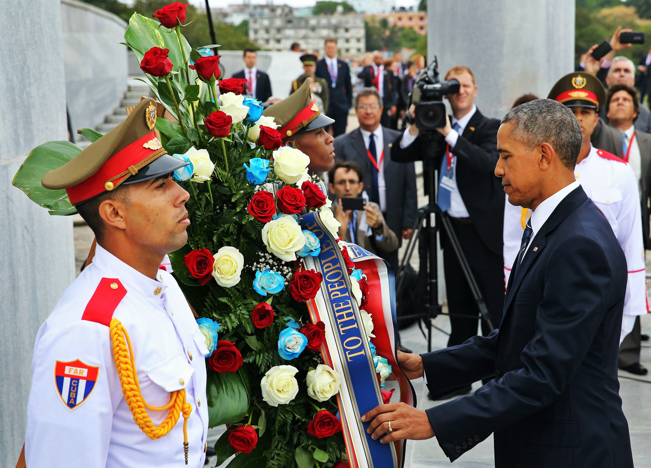 President Barack Obama lays a wreath for Cuban hero Jose Marti at Revolution Square in Havana, on March 21, 2016.