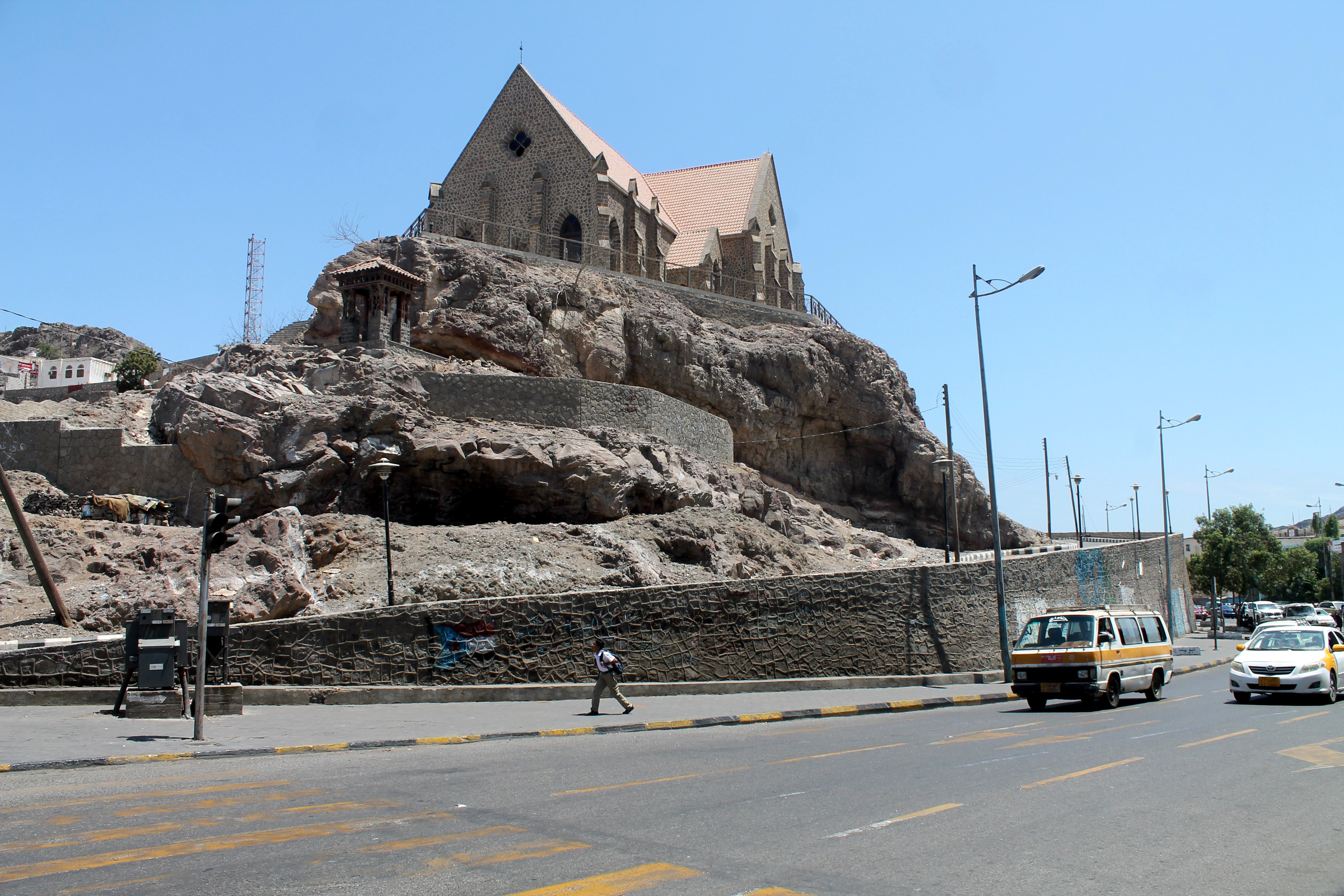 A church atop a hill in the southern Yemeni city of Aden.