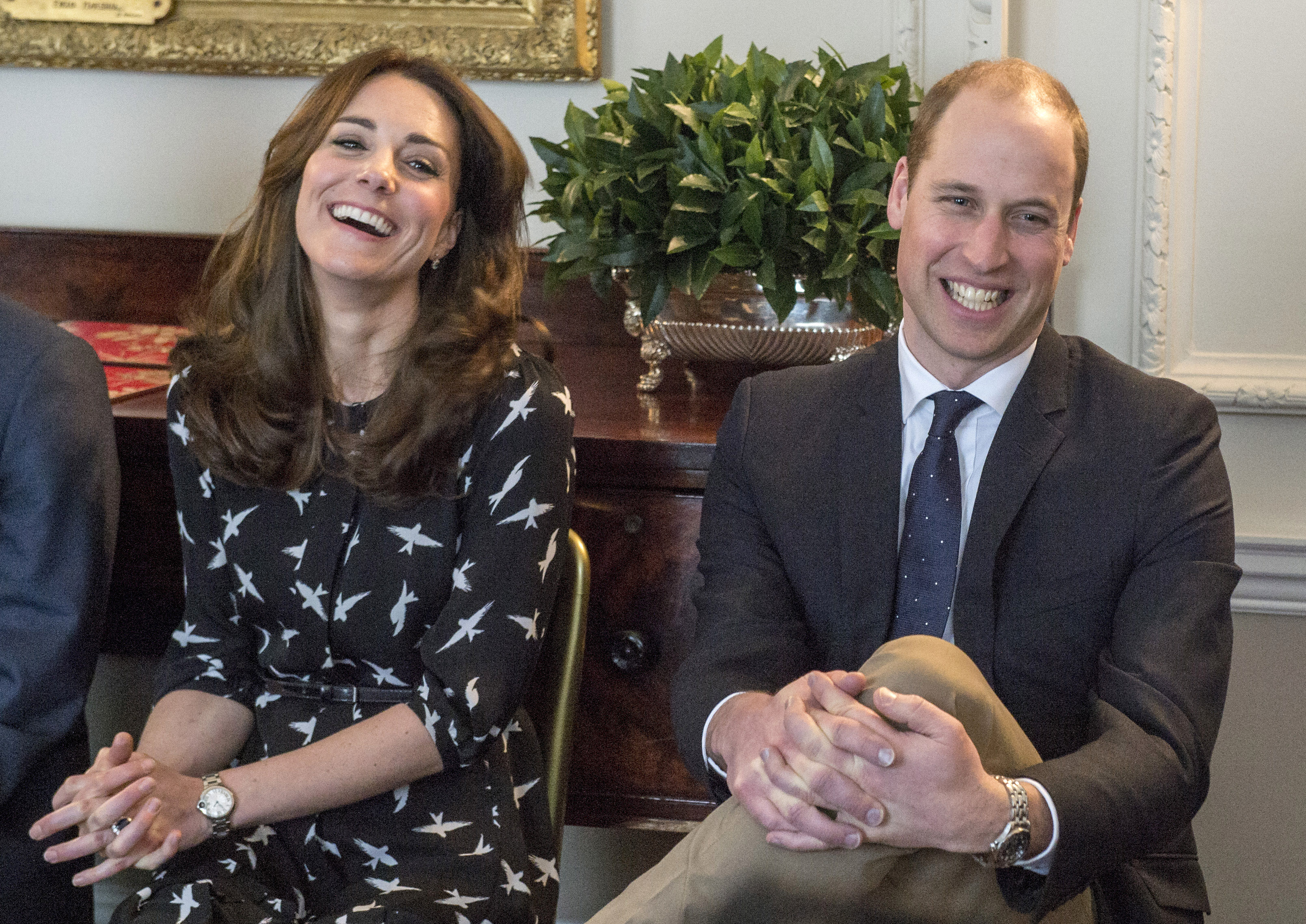 Catherine, Duchess of Cambridge and Prince William, Duke of Cambridge  met with Jonny Benjamin and Neil Laybourn at  Kensington Palace on March 10, 2016 in London, United Kingdom.