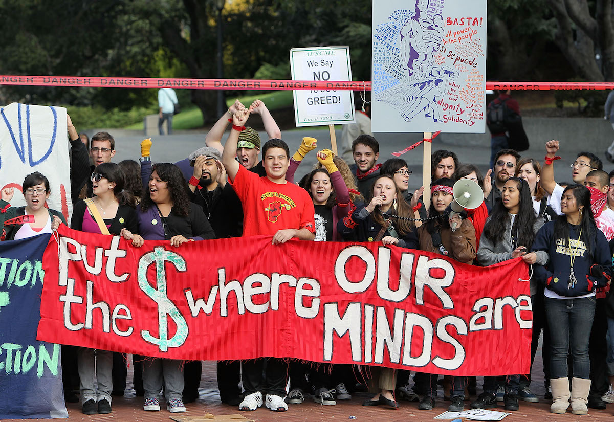 California campuses hold walkouts and rallies to protest education cuts on March 4, 2010 in Berkeley, Calif.