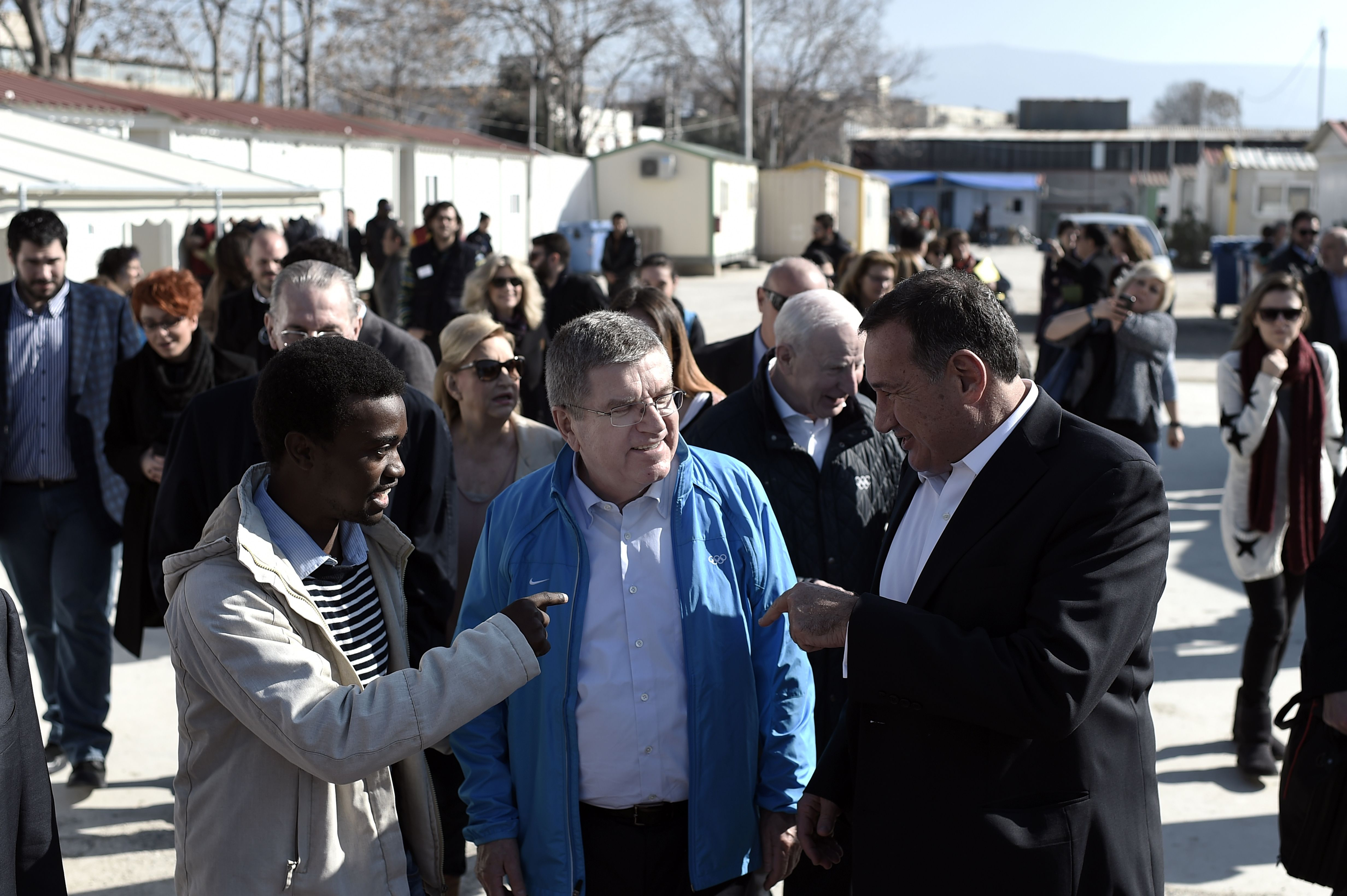 IOC President Thomas Bach at the Athens, Greece, Elaionas camp for migrants and refugees, Jan. 28, 2016.