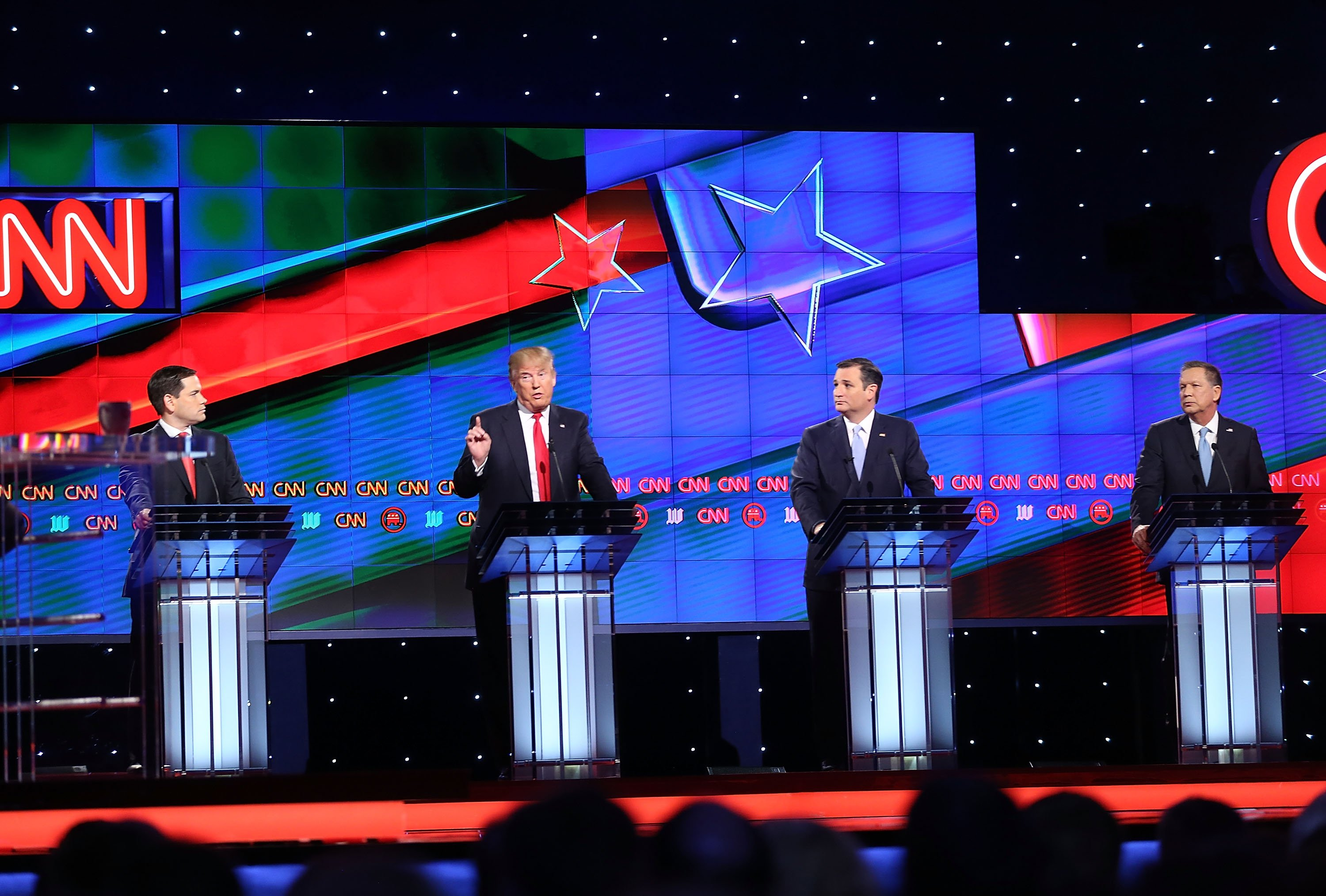 Republican presidential candidates, Sen. Marco Rubio, Donald Trump, Sen. Ted Cruz, and Ohio Gov. John Kasich debate during the CNN, Salem Media Group, The Washington Times Republican Presidential Primary Debate on the campus of the University of Miami on March 10, 2016 in Coral Gables, Fl.