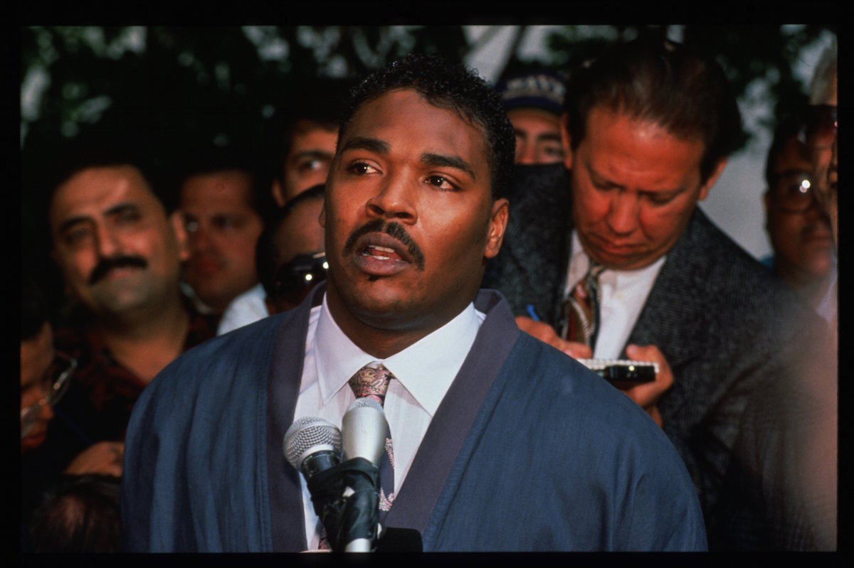 Rodney King pleads to  rioters to make peace on May 1, 1992 in Los Angeles