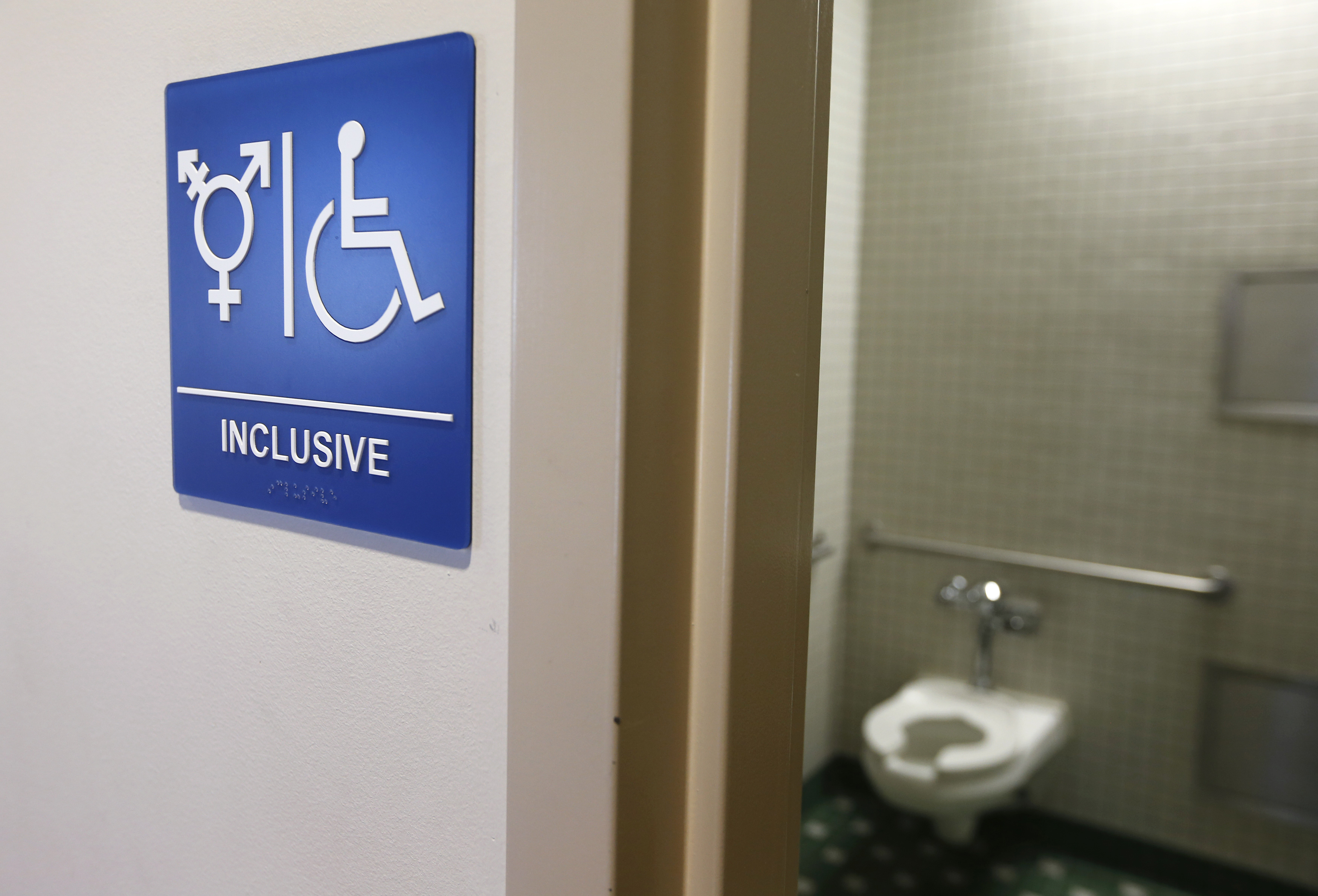A gender-neutral bathroom is seen at the University of California, Irvine in Irvine, Calif., Sept. 30, 2014.