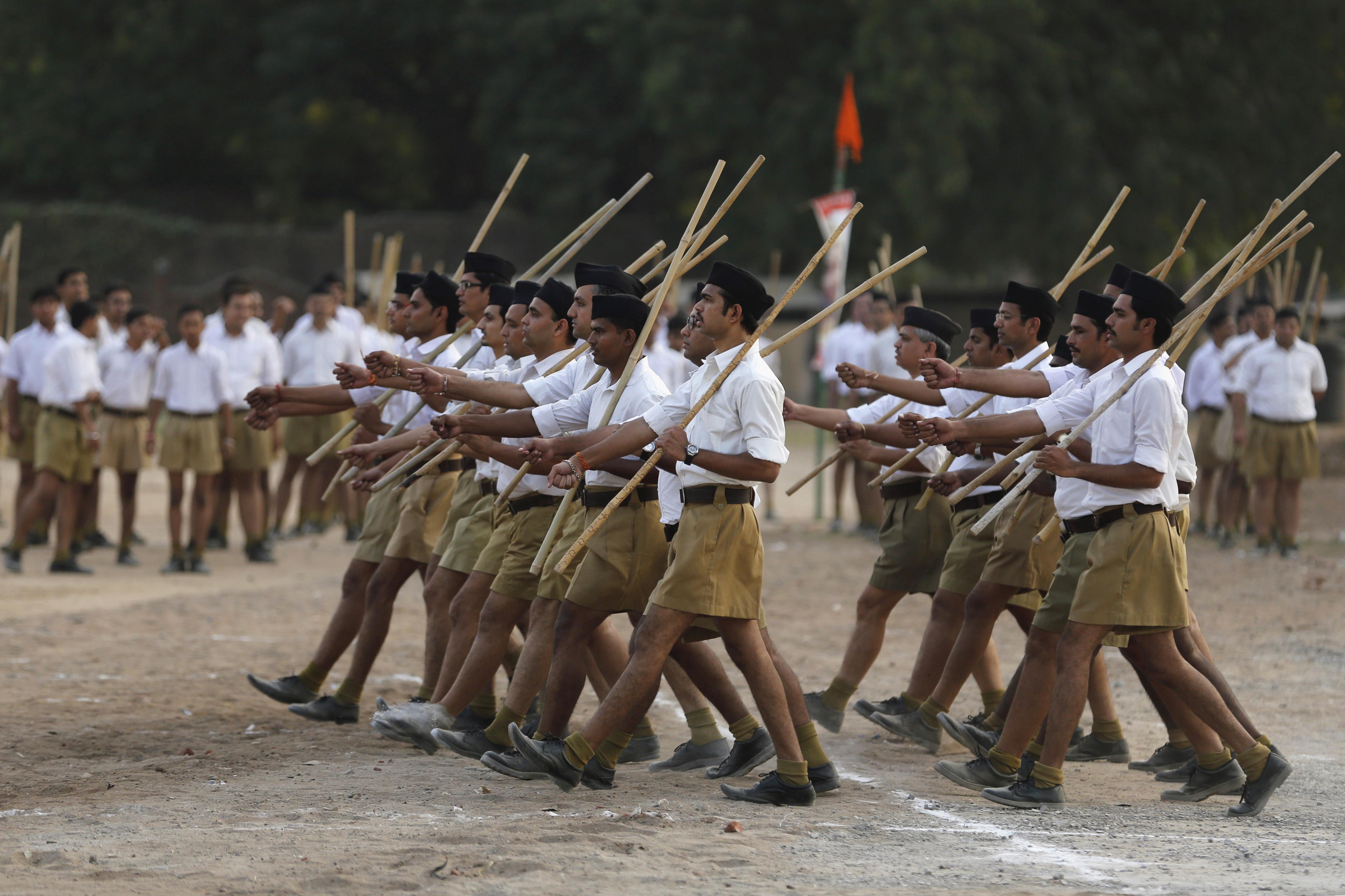 Volunteers of the Hindu nationalist organization Rashtriya Swayamsevak Sangh take part in the Path-Sanchalan (Volunteer March) during celebrations to mark the festival of Dussehra in Ahmedabad, India, on Oct. 18, 2015