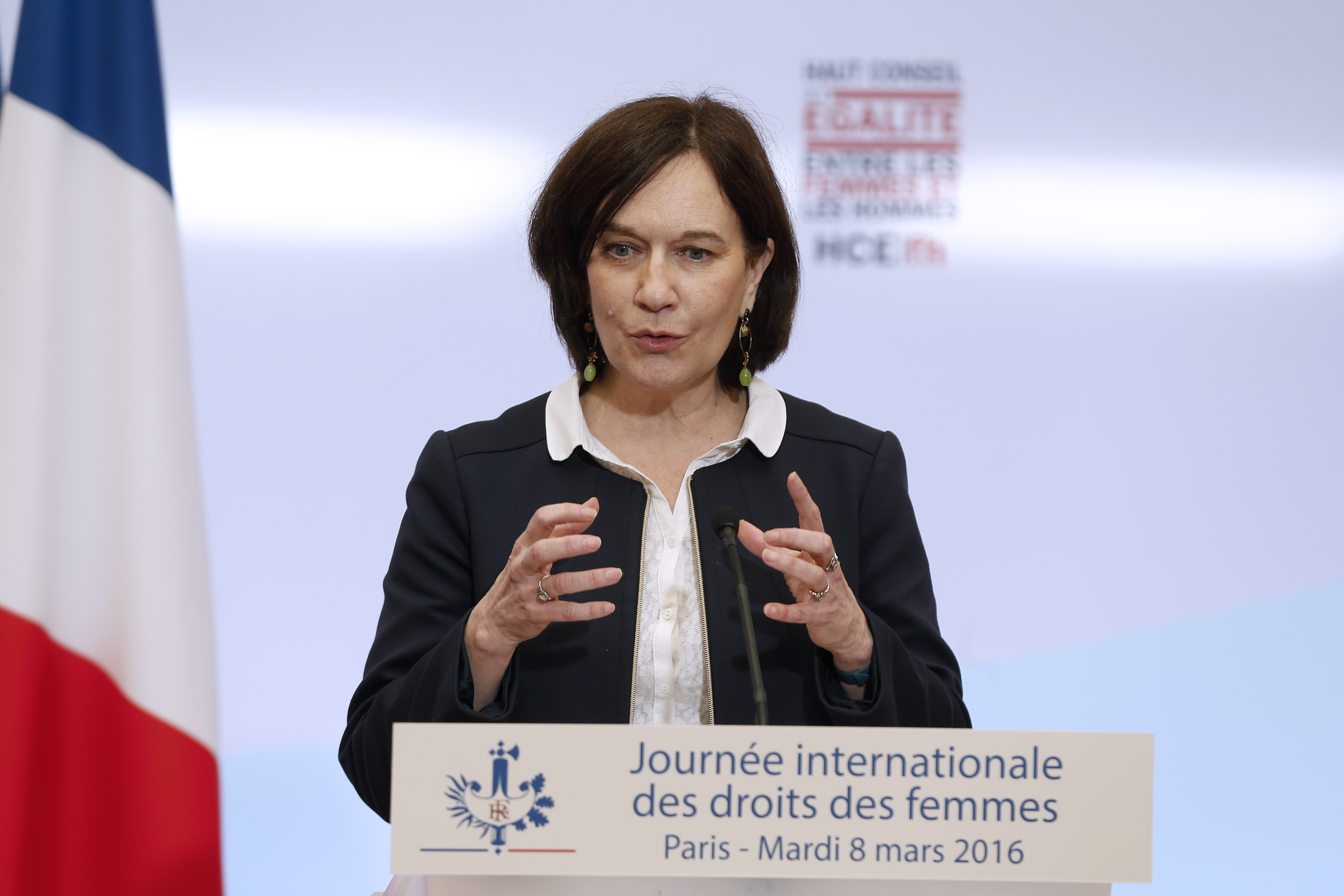 French Minister for Families, Children and Women's Rights Laurence Rossignol delivers a speech during the launching of the High Council for Equality between Women and Men on International Women's Day at the Élysée Palace in Paris on March 8, 2016