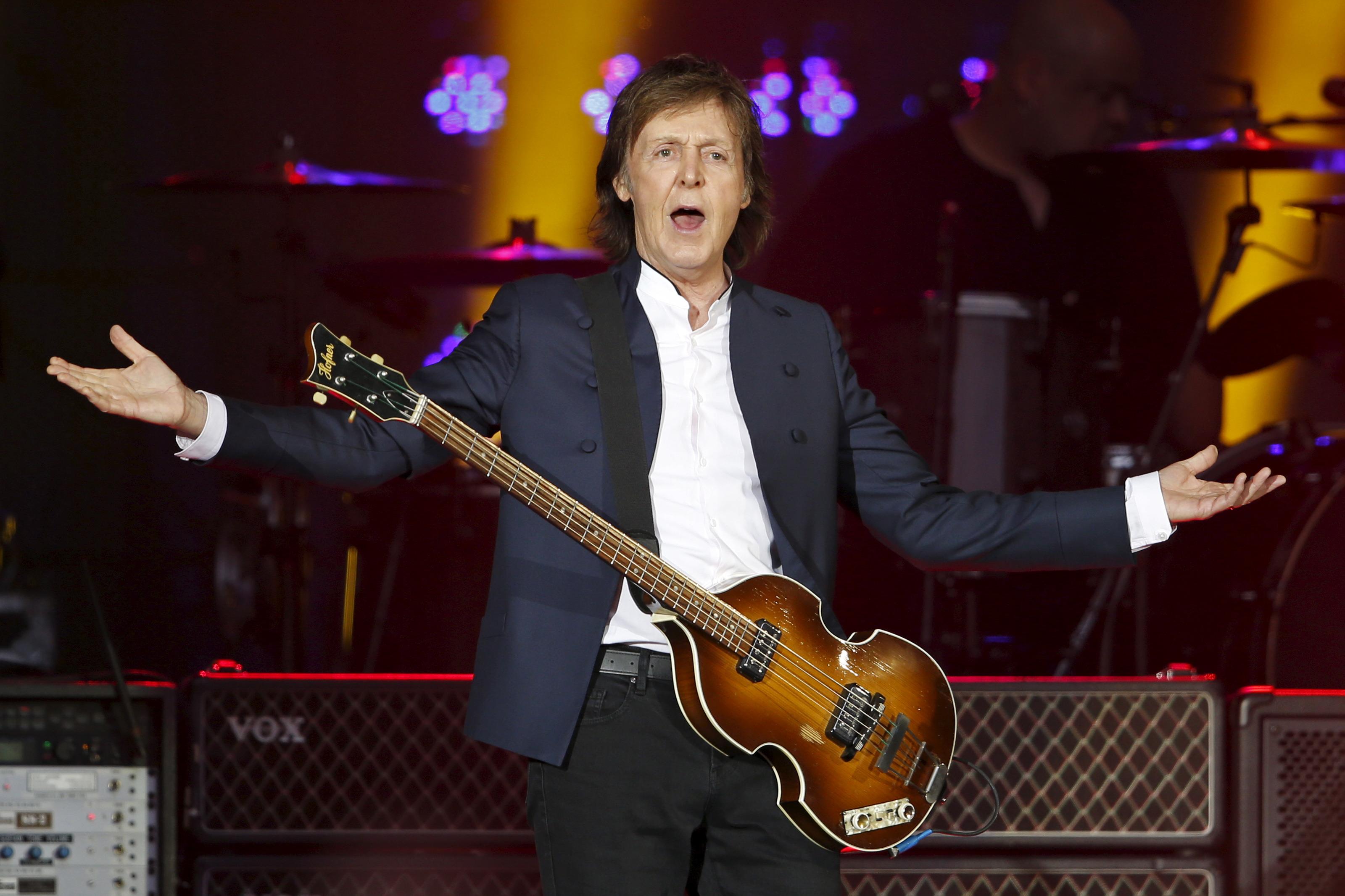 Paul McCartney performs at the Stade de France, in Saint-Denis, near Paris, France, June 11, 2015.
