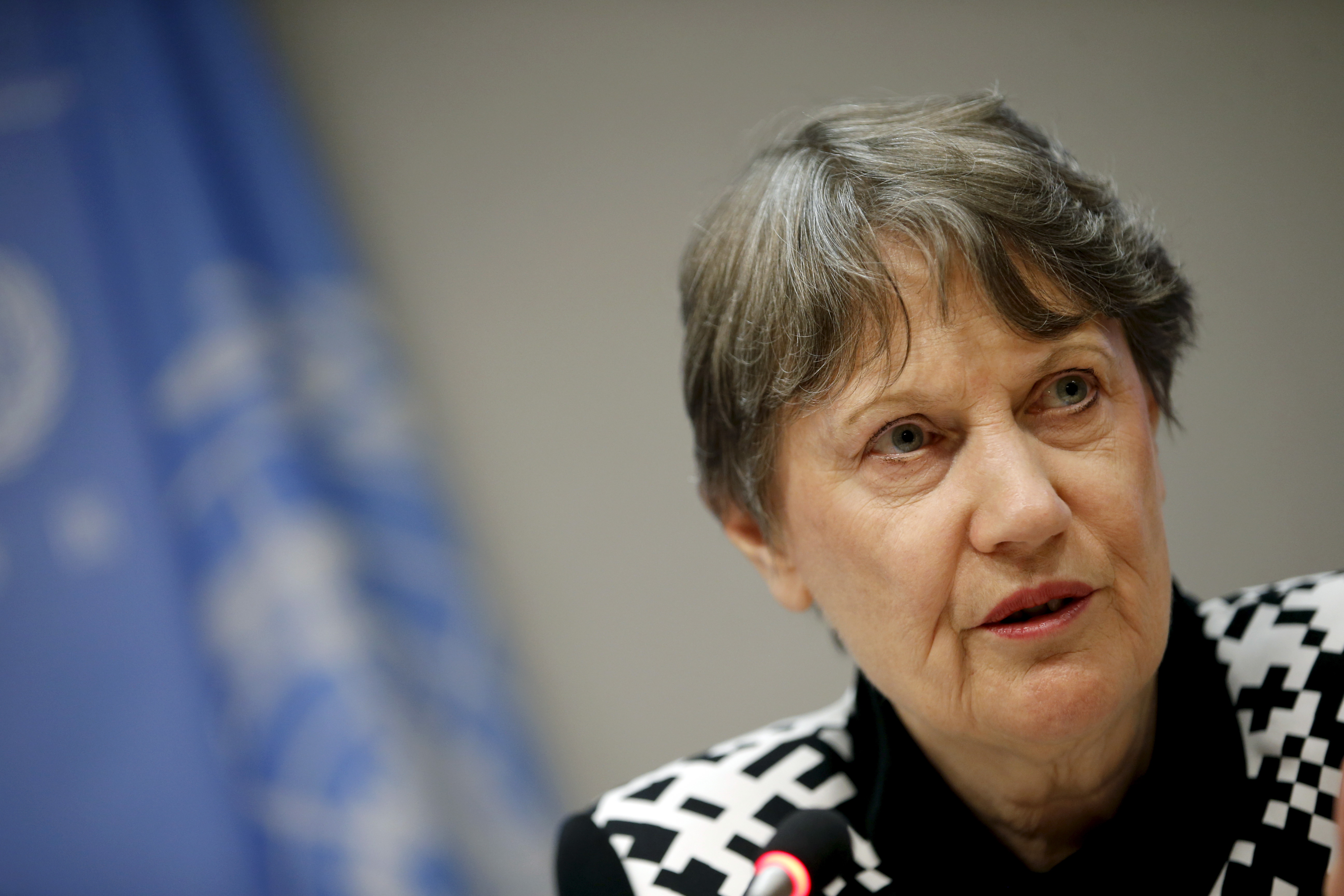 U.N. Development Programme Administrator Helen Clark speaks at a news conference at the U.N.'s headquarters in New York City on Sept. 21, 2015