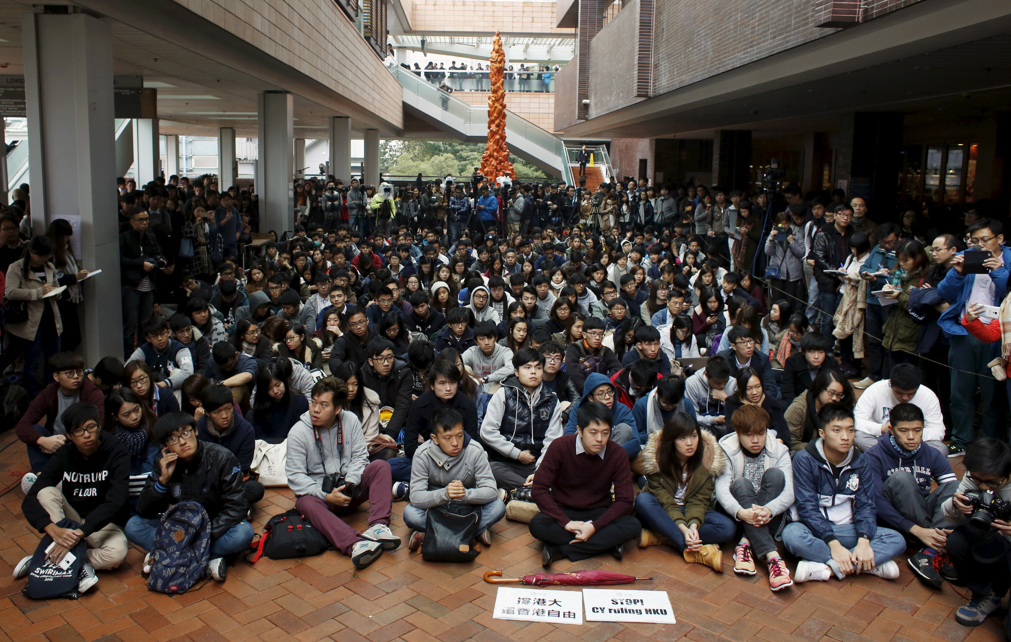 Students attend a rally at the University of Hong Kong's the campus on the first day to boycott classes on Jan. 20, 2016, in Hong Kong