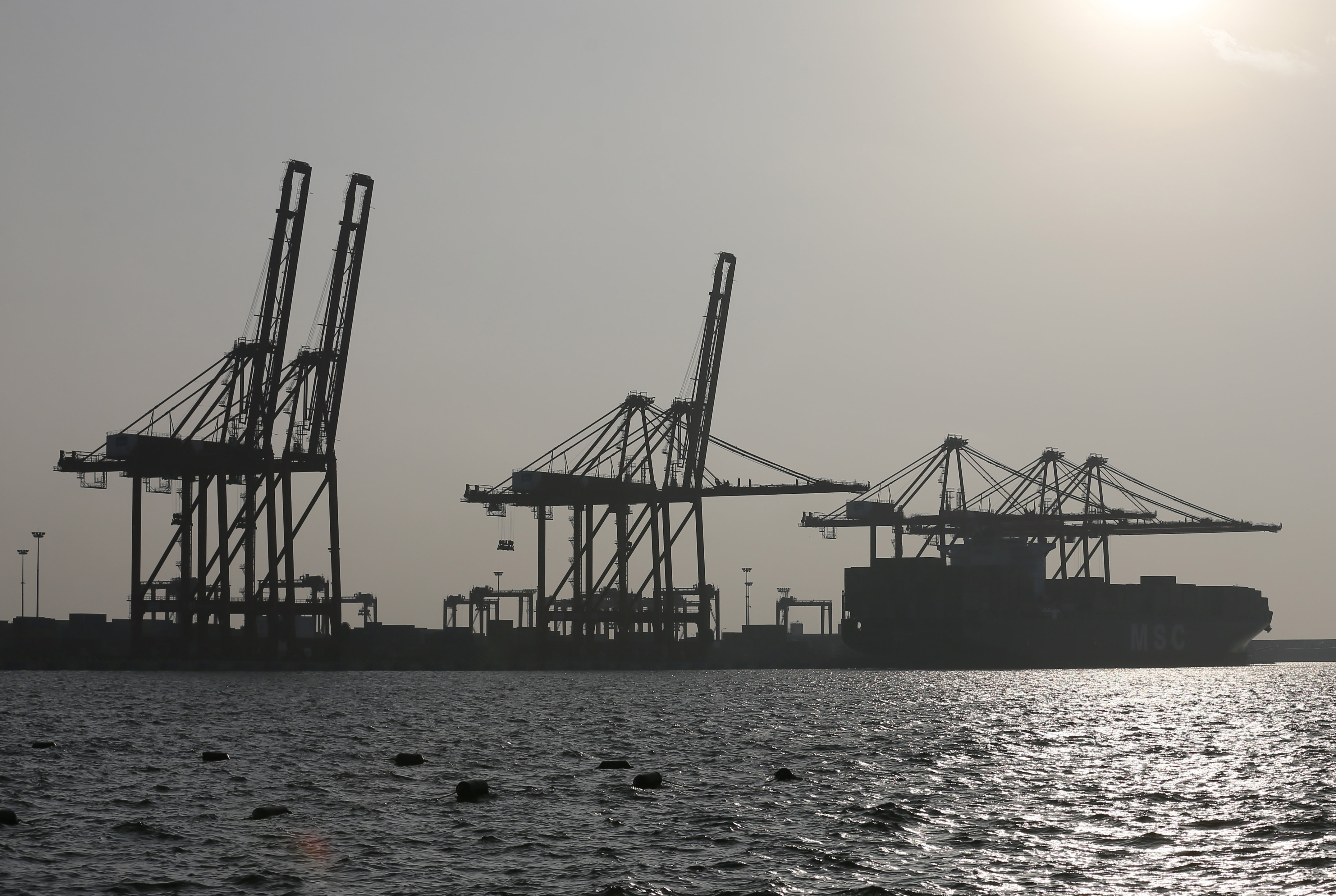 A container ship is pictured docked at Sri Lanka's Colombo South Harbor, funded by China, on Jan. 21, 2016