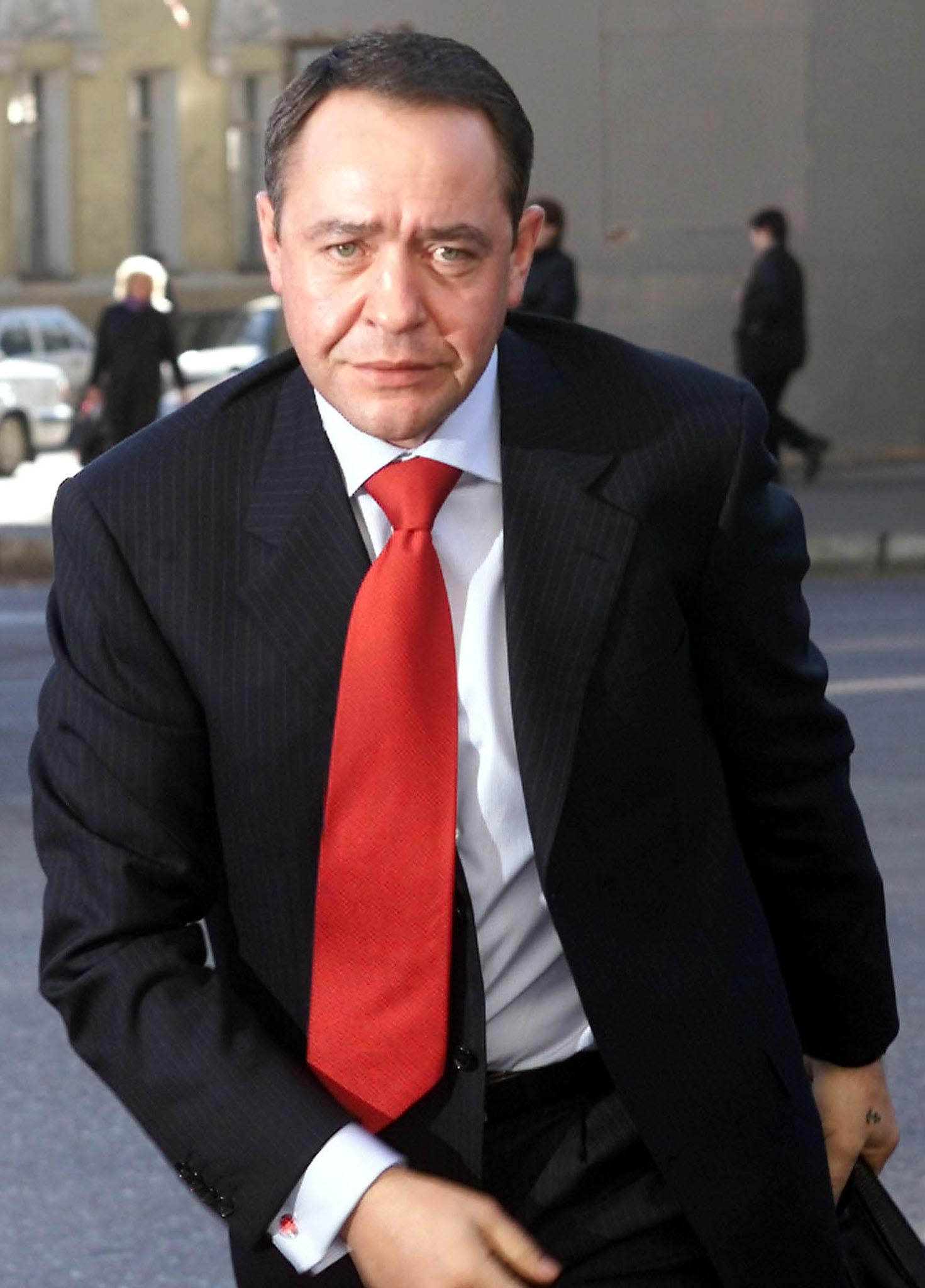 Mikhail Lesin in central Moscow on March 27, 2002