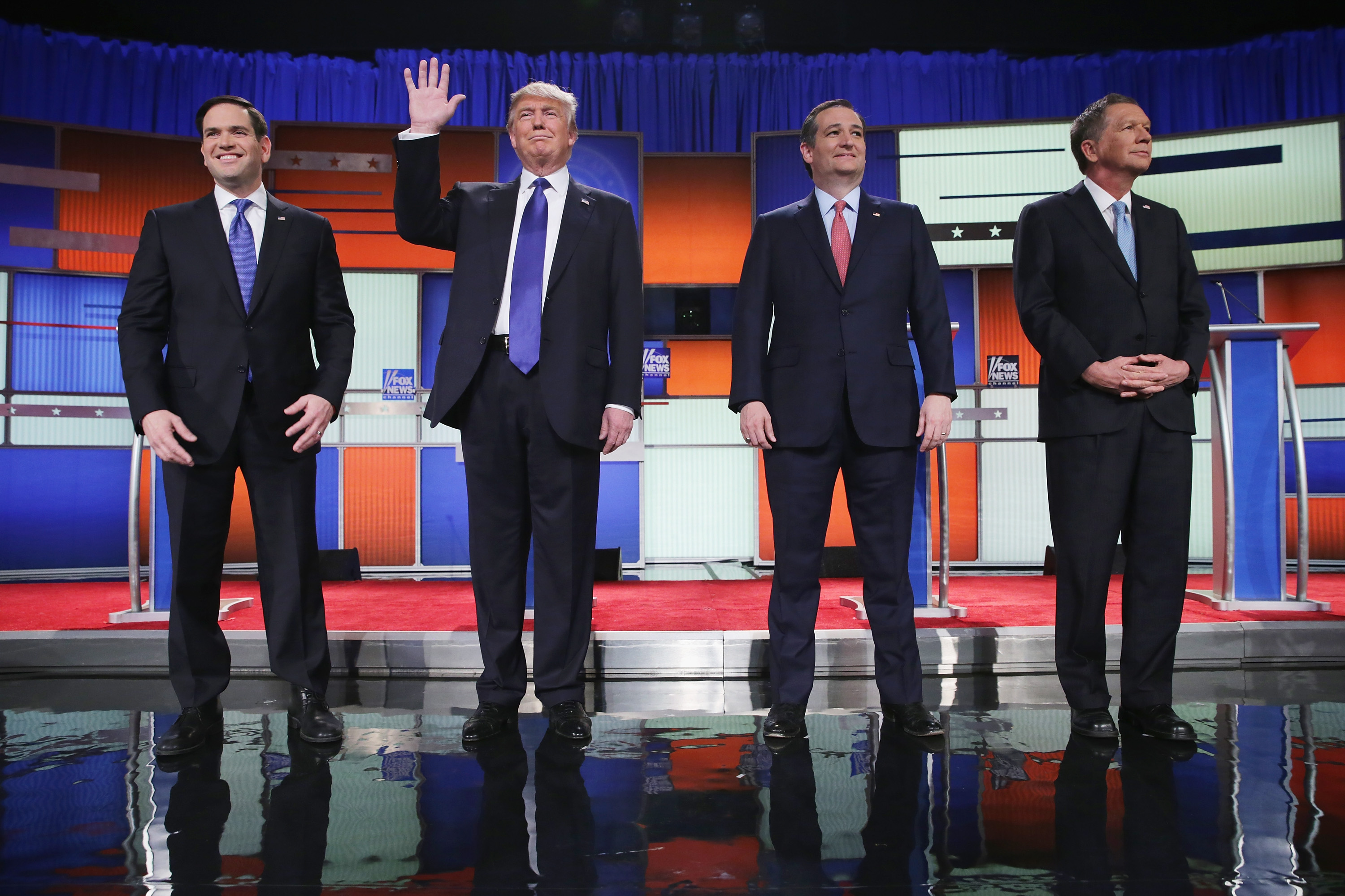 Republican presidential candidates Sen. Marco Rubio (R-FL), Donald Trump, Sen. Ted Cruz (R-TX), and Ohio Gov. John Kasich, participate in a debate sponsored by Fox News on March 3, 2016 in Detroit, Michigan.