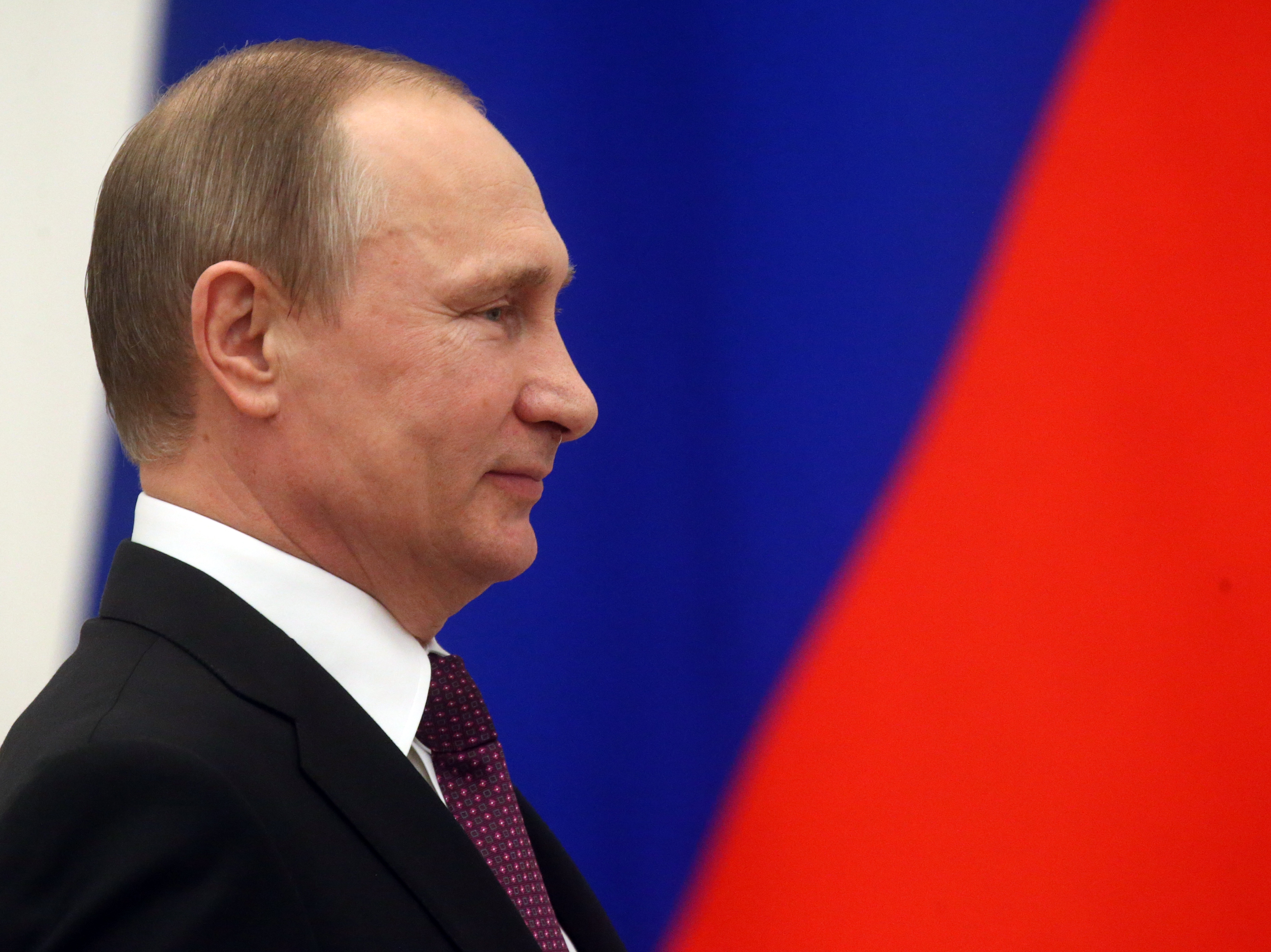 Russian President Vladimir Putin at an awarding ceremony at the Kremlin in Moscow on March 10, 2016.