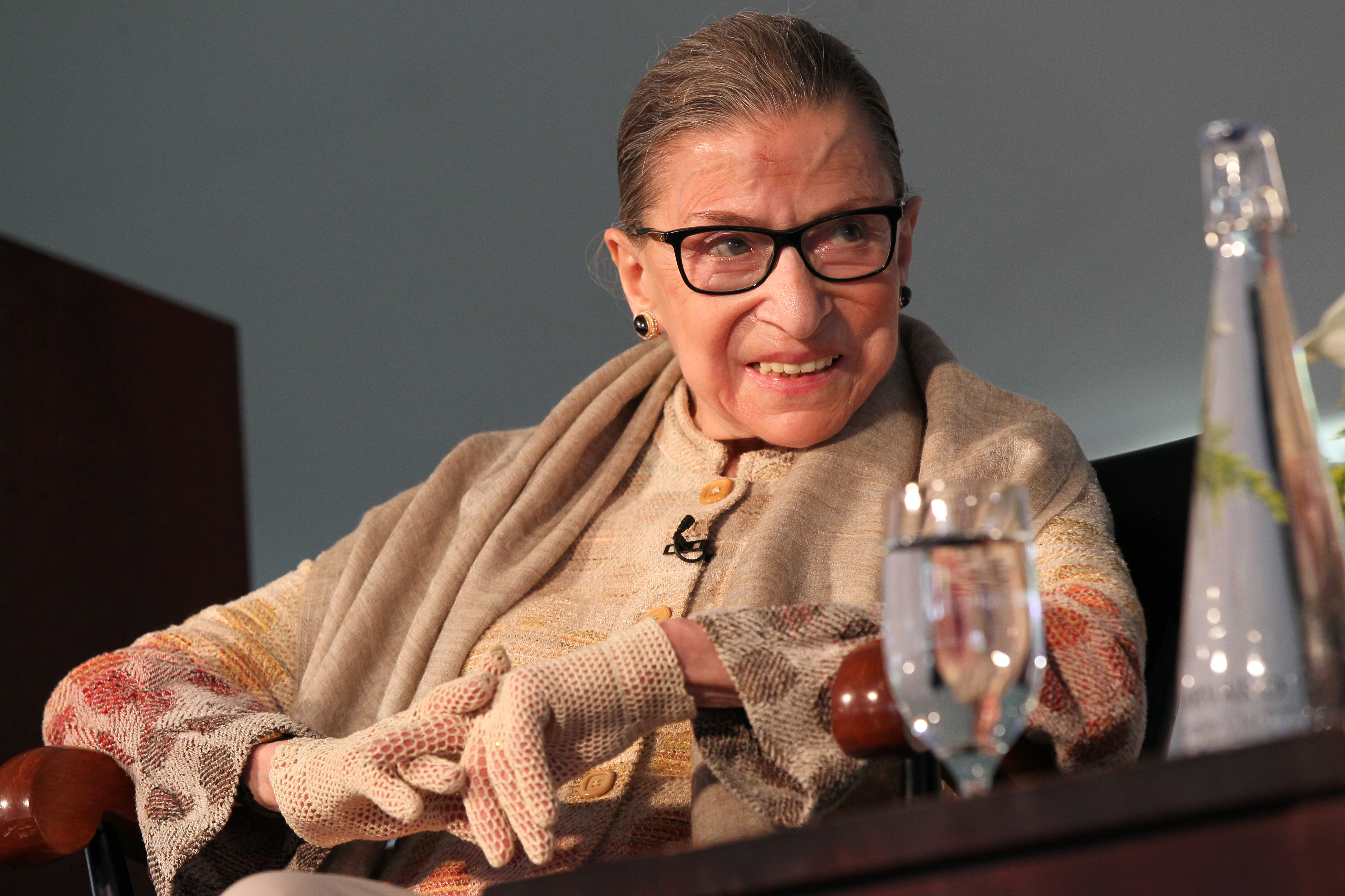 Justice Ruth Ginsburg during   A conversation  with Kathleen Sullivan at the Radcliffe Day Lunch. Ginsburg received the Radcliffe Medal Friday afternoon.