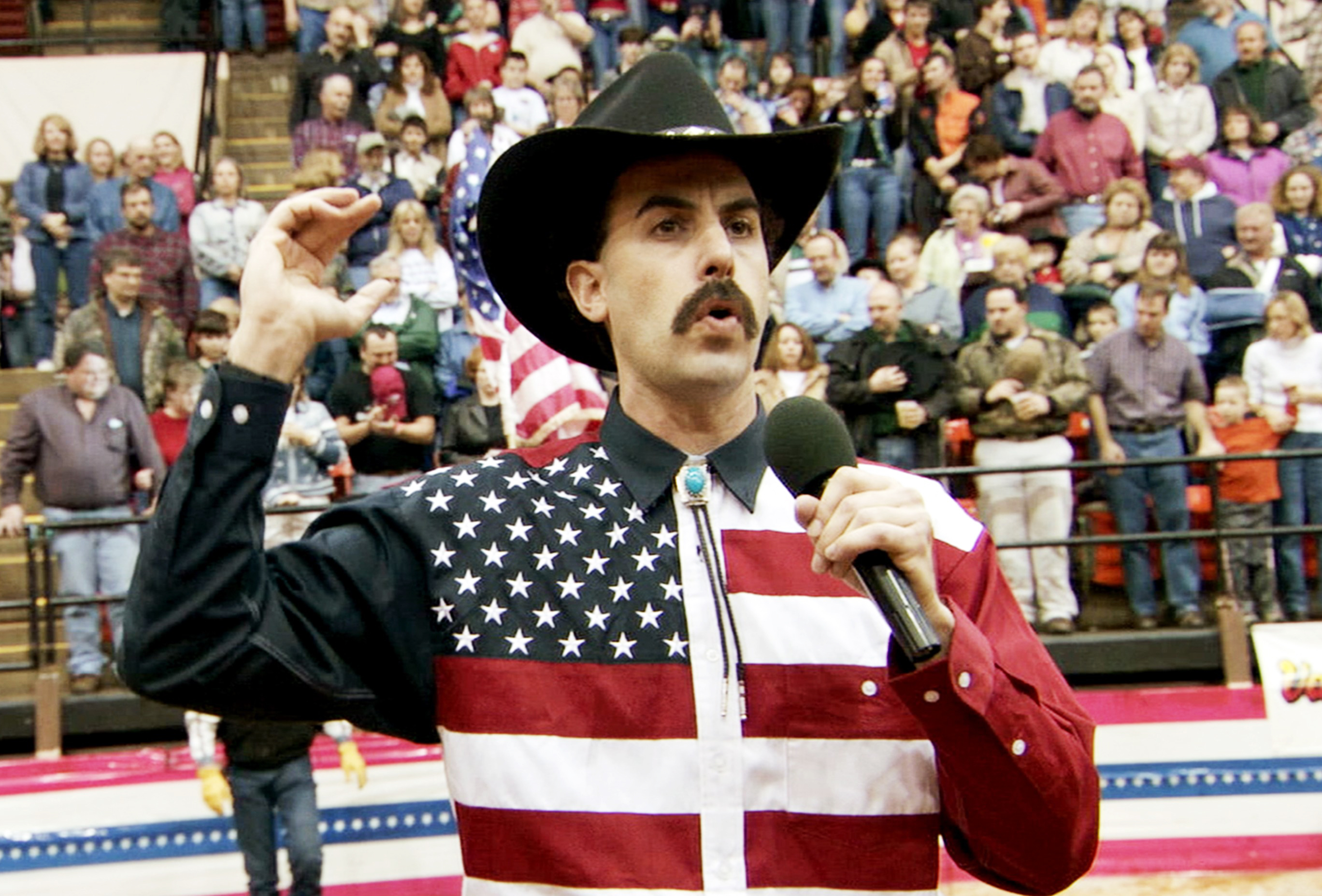 Sacha Baron Cohen as Borat in Borat: Cultural Learnings of America for Make Benefit Glorious Nation of Kazakhstan, 2006.