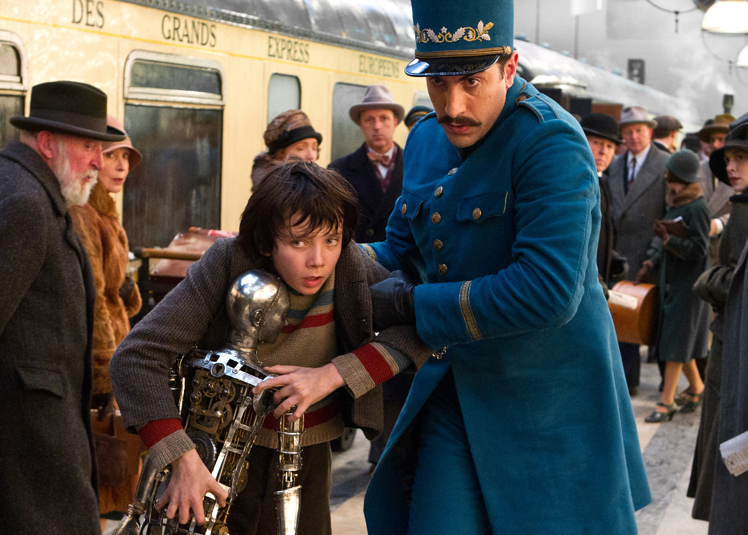 Sacha Baron Cohen as Inspector Gustav in Hugo, 2011.